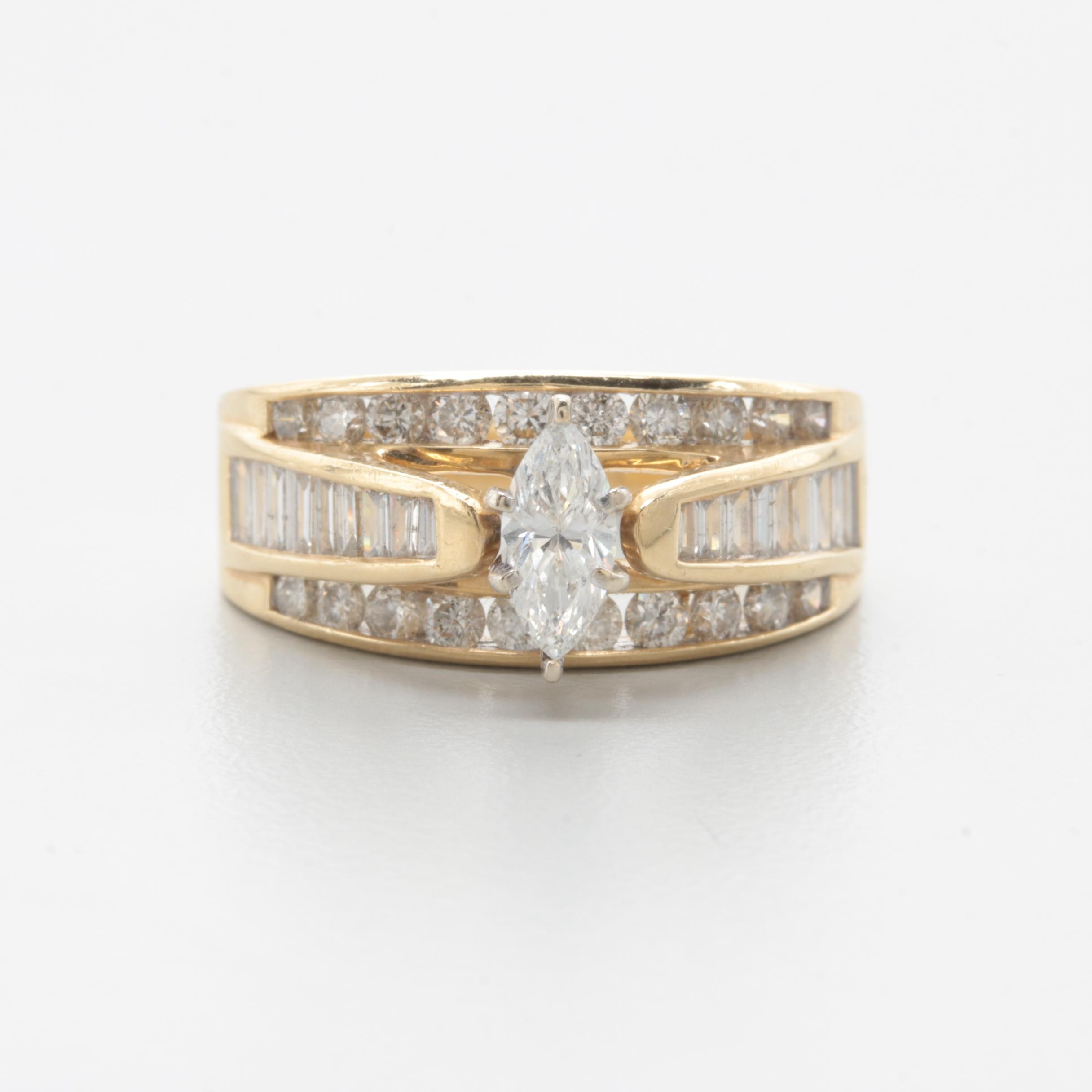 14K Yellow Gold 1.31 CTW Diamond Ring
