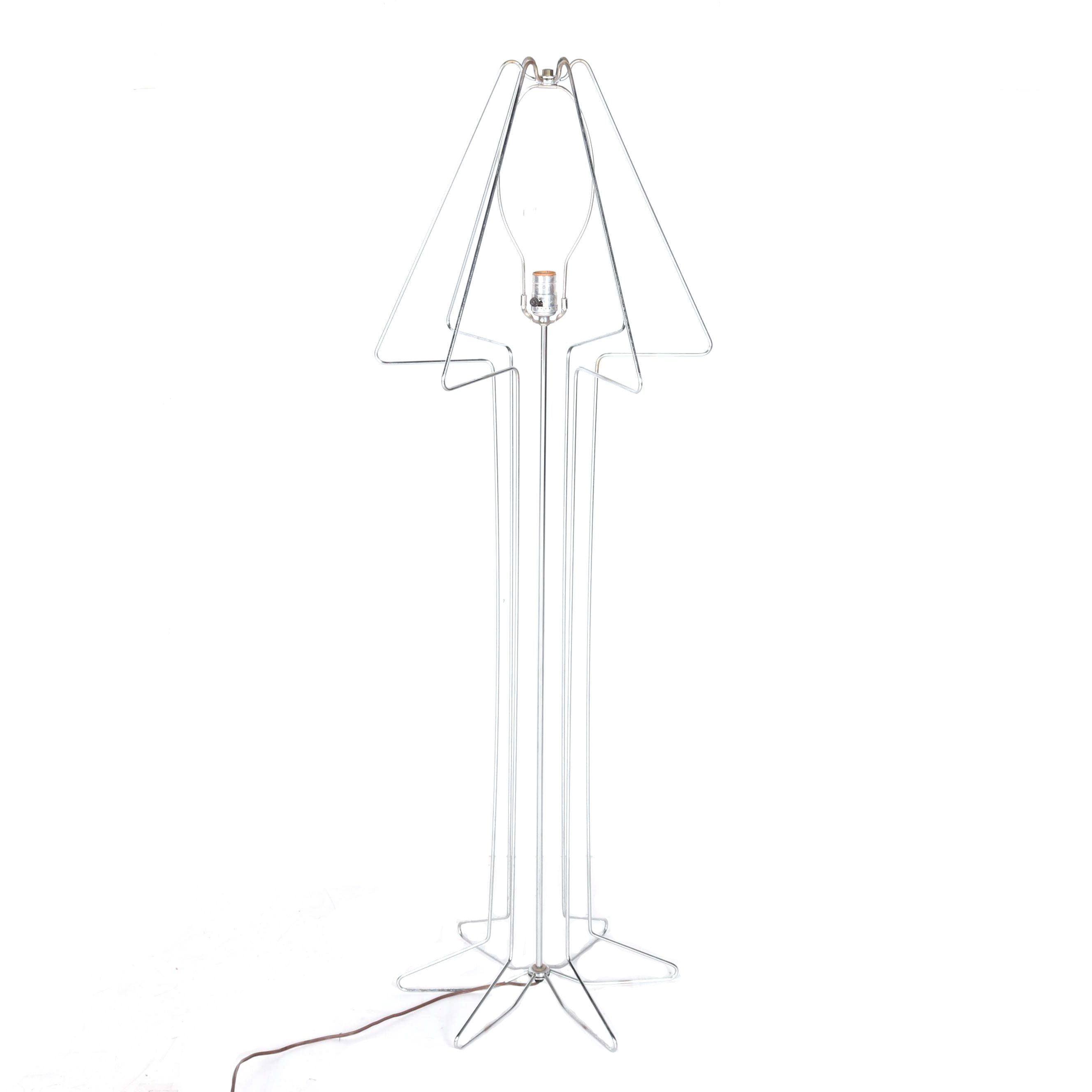 Mid Century Modern Style Chrome Finished Wire Floor Lamp