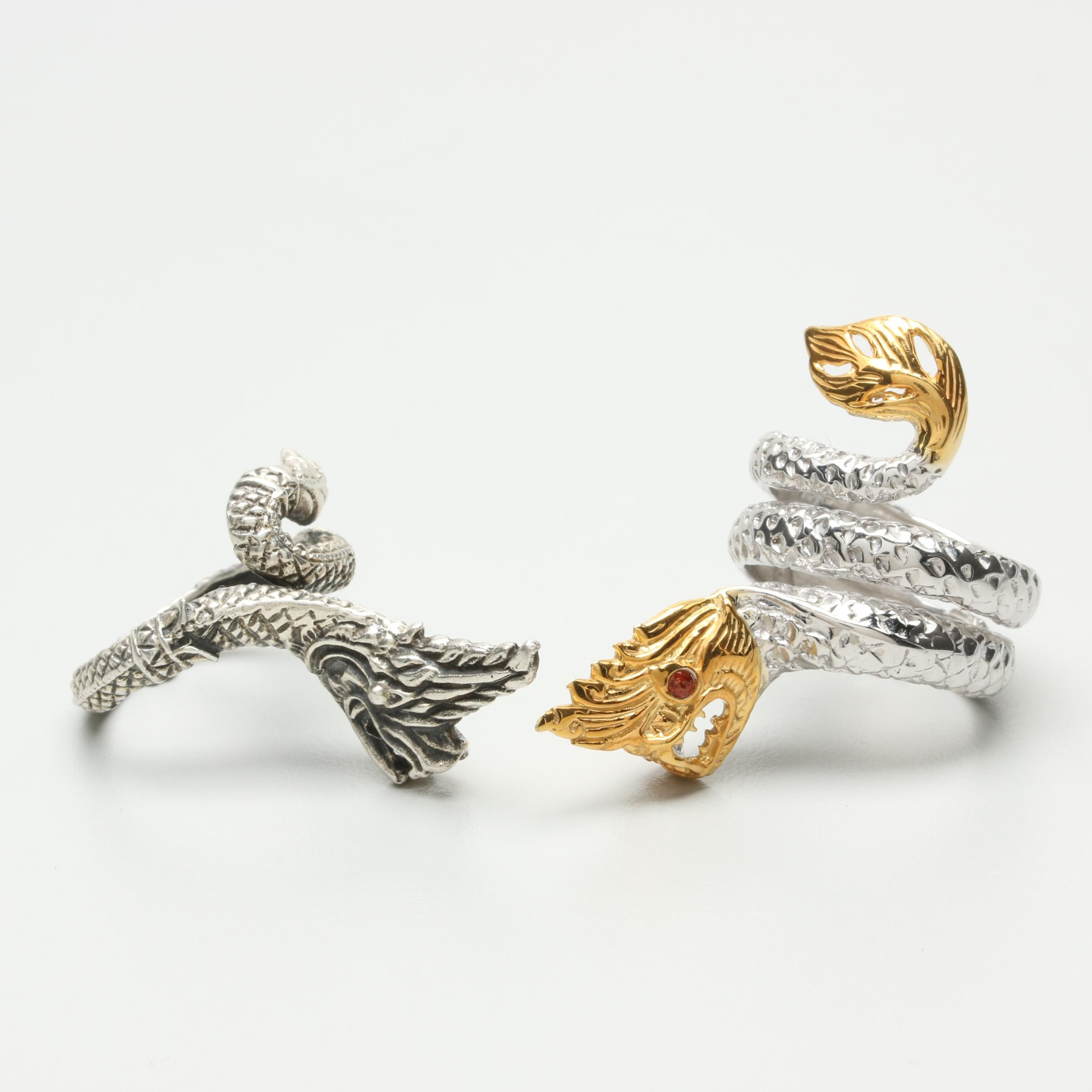 Sterling Silver Garnet Dragon Motif Rings