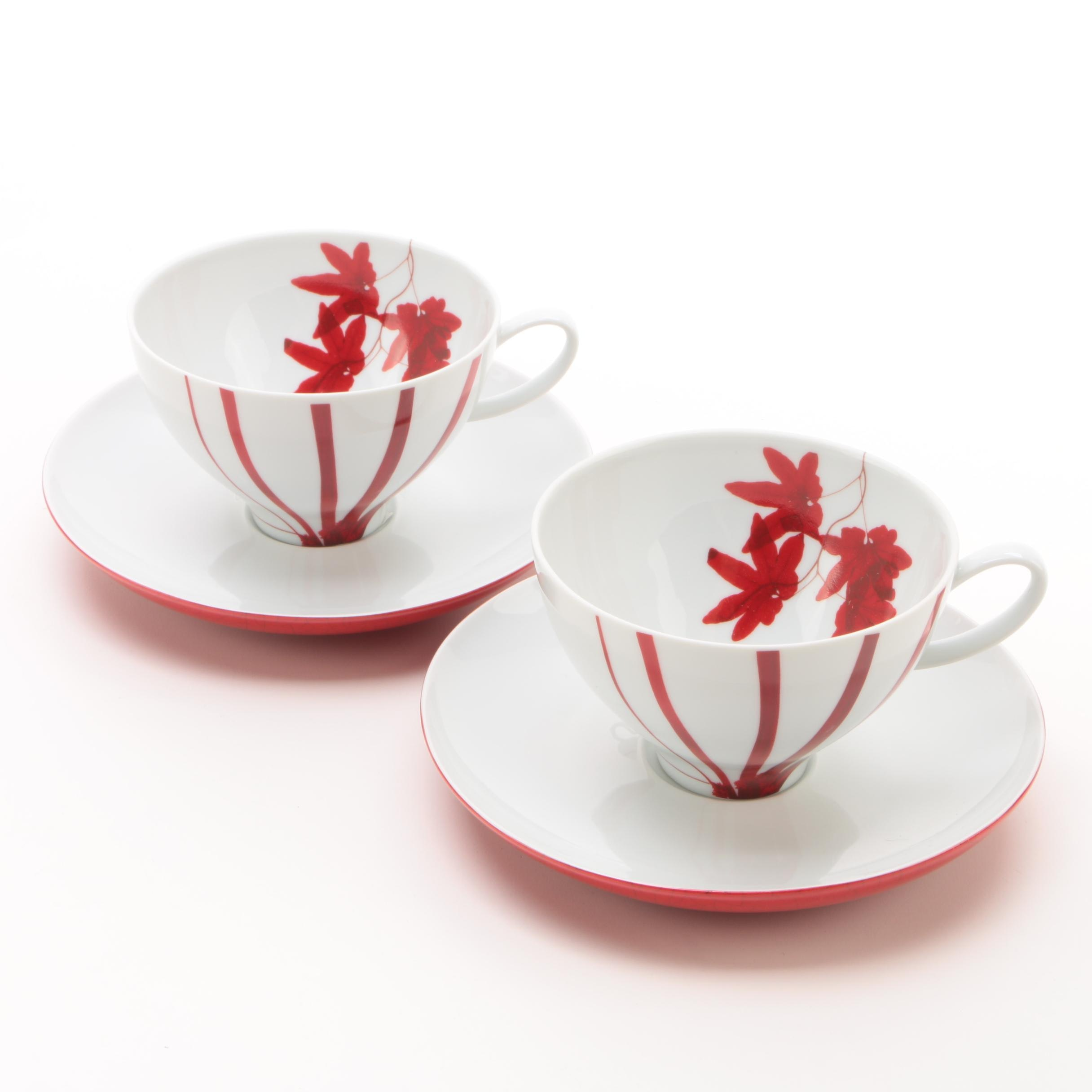 "Mikasa ""Pure Red"" Porcelain Cups and Saucers"