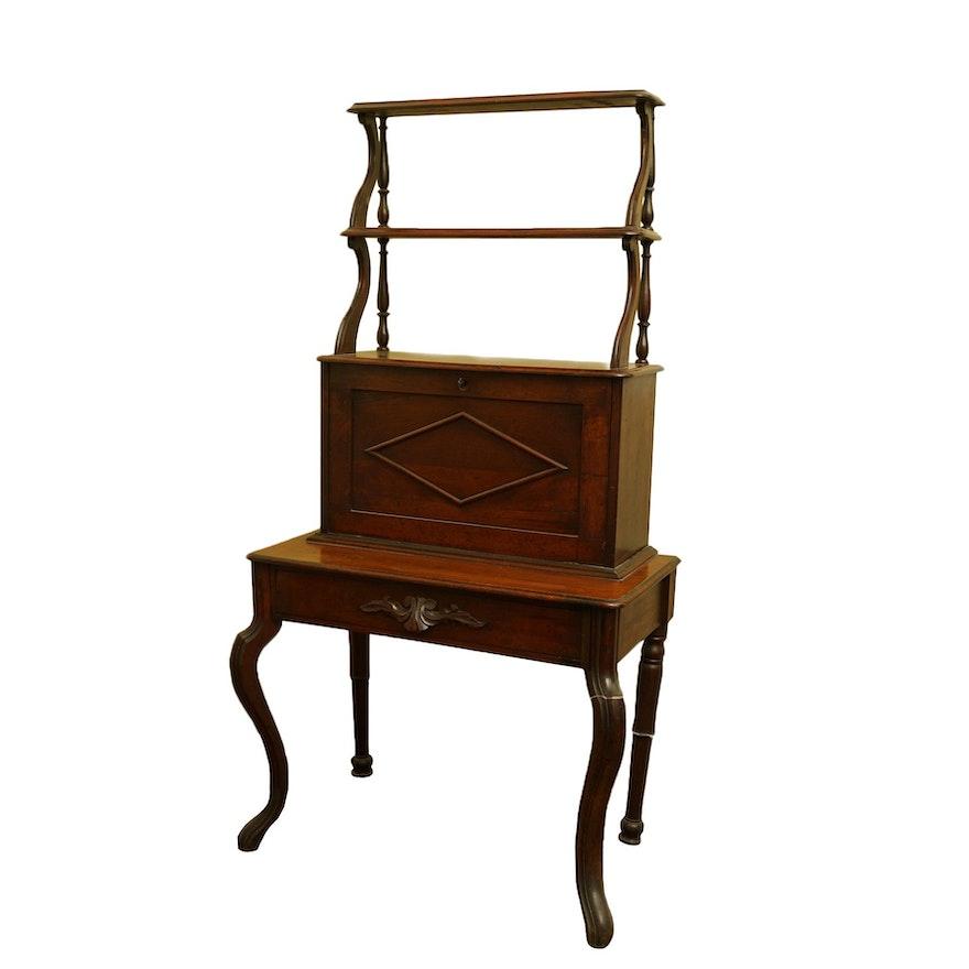Antique Drop Front Secretary Desk >> Vintage Drop Front Secretary With Etagere
