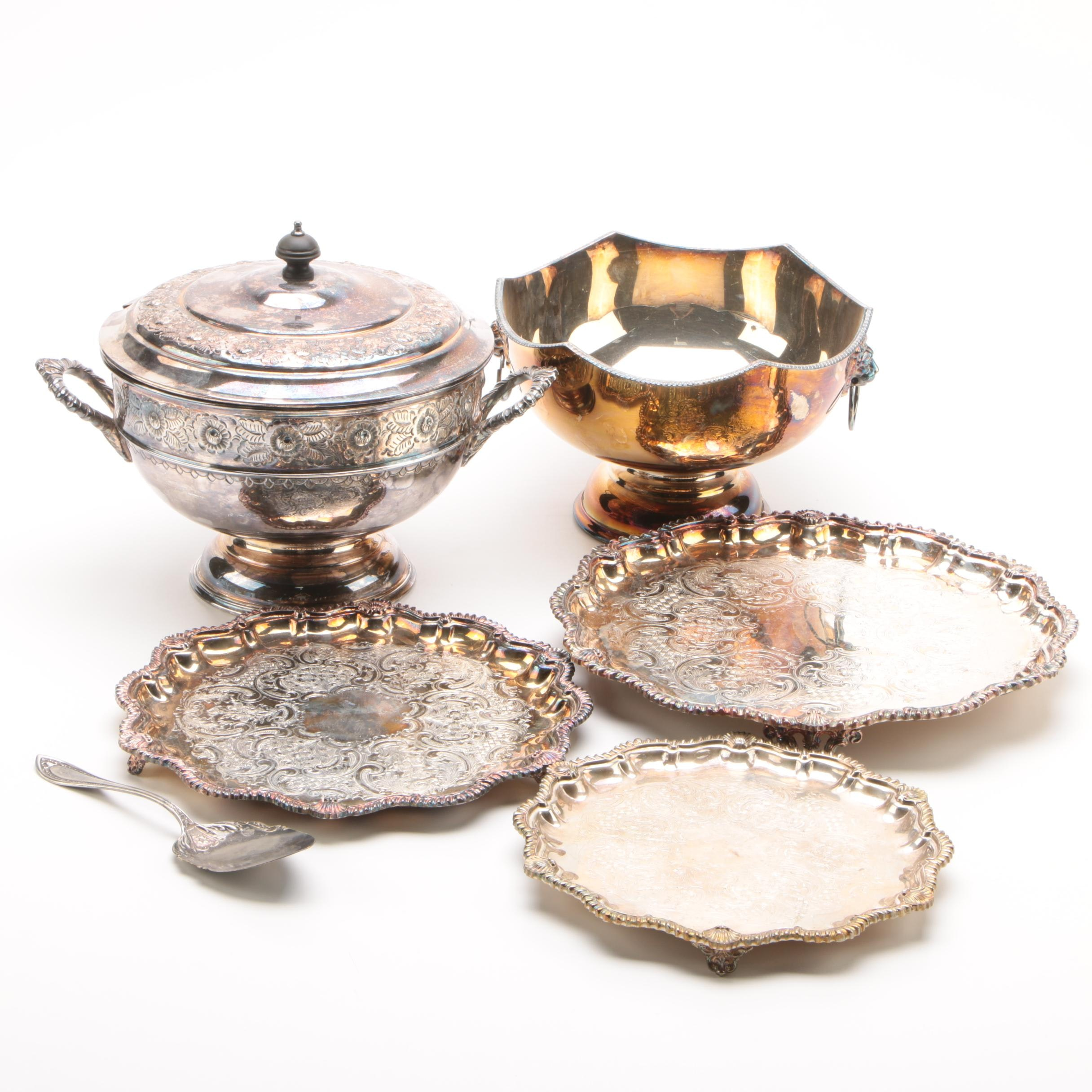 Viners Reproduction Old Sheffield Plate Centerpiece Bowl with Other Silver Plate