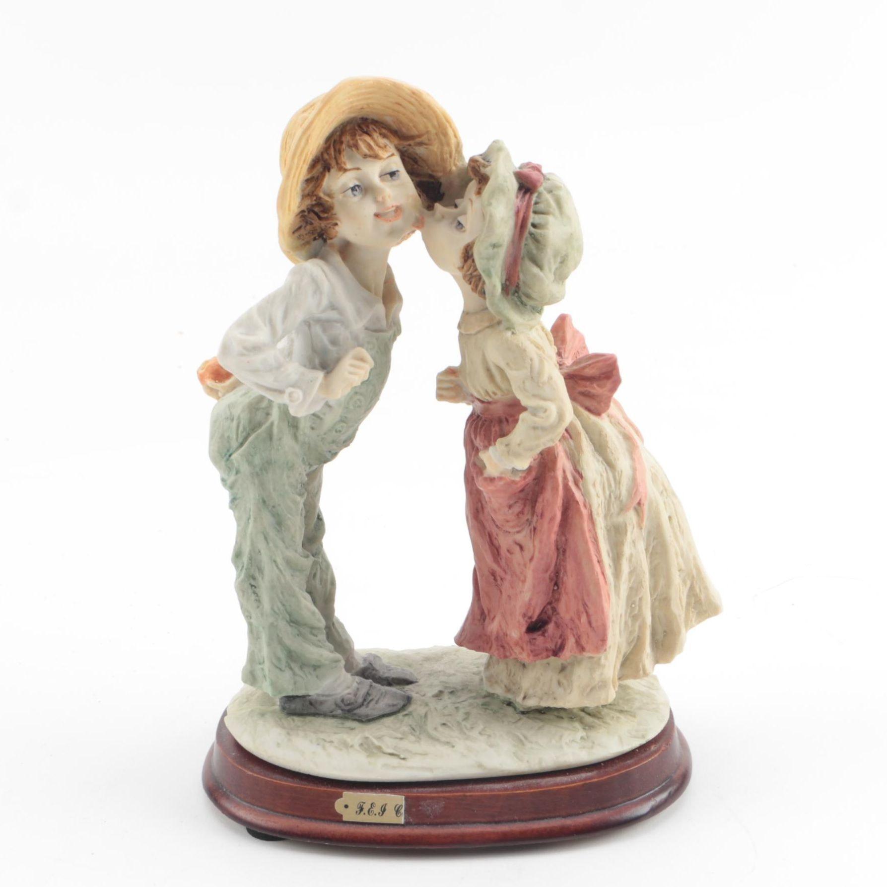 Kiss on the Cheek Resin Figurine