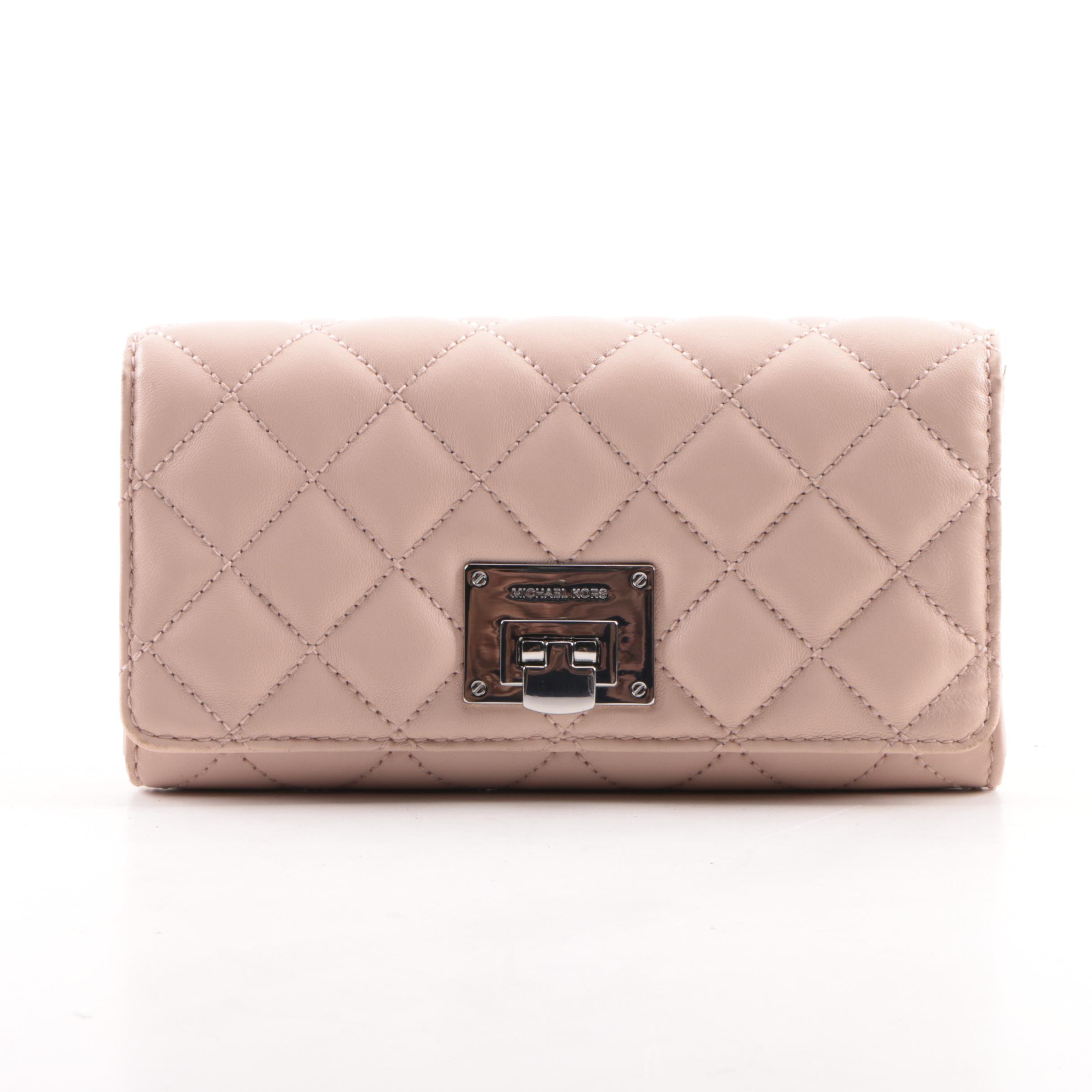 Michael Kors Pink Quilted Leather Wallet