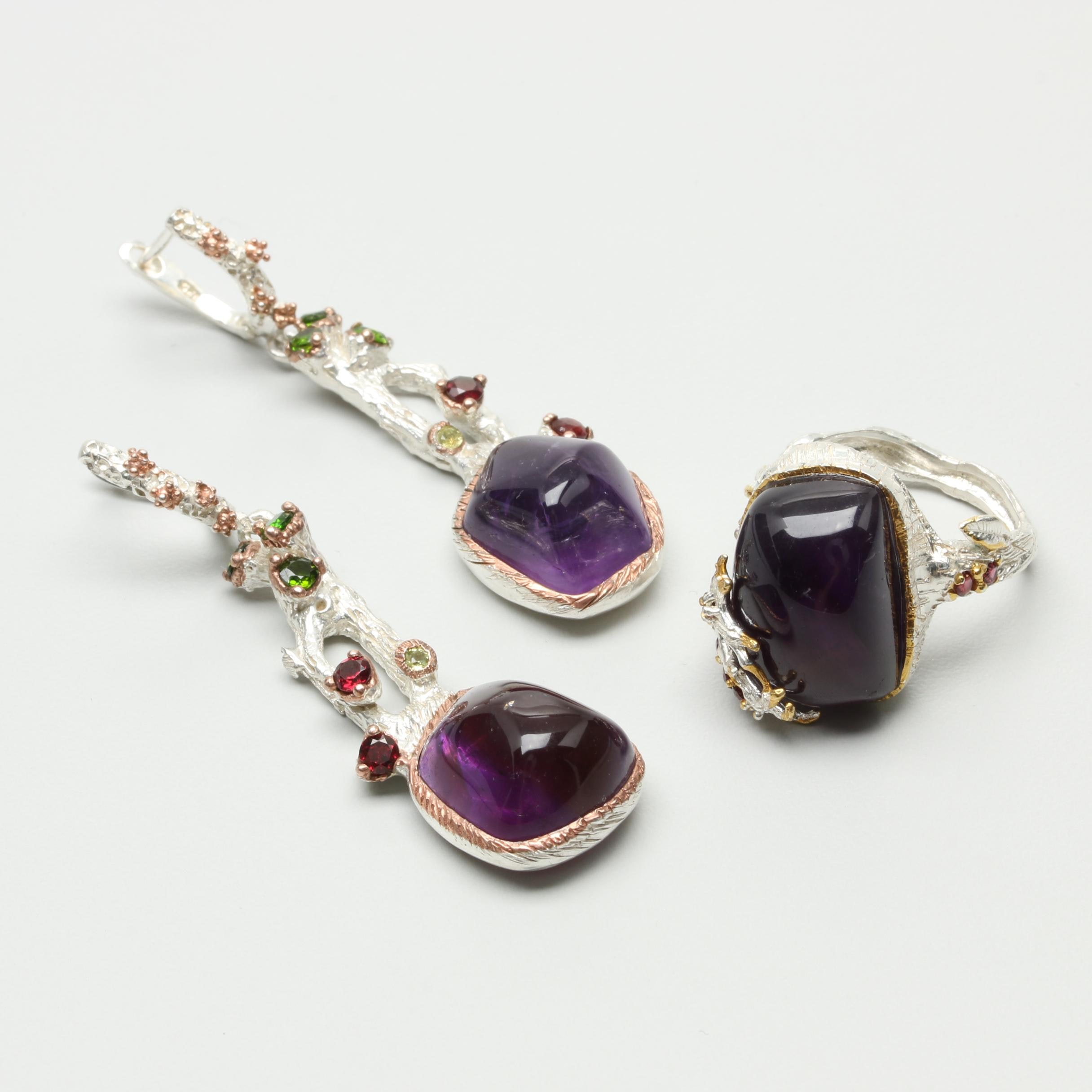 Sterling Silver Amethyst and Gemstone Ring and Earrings