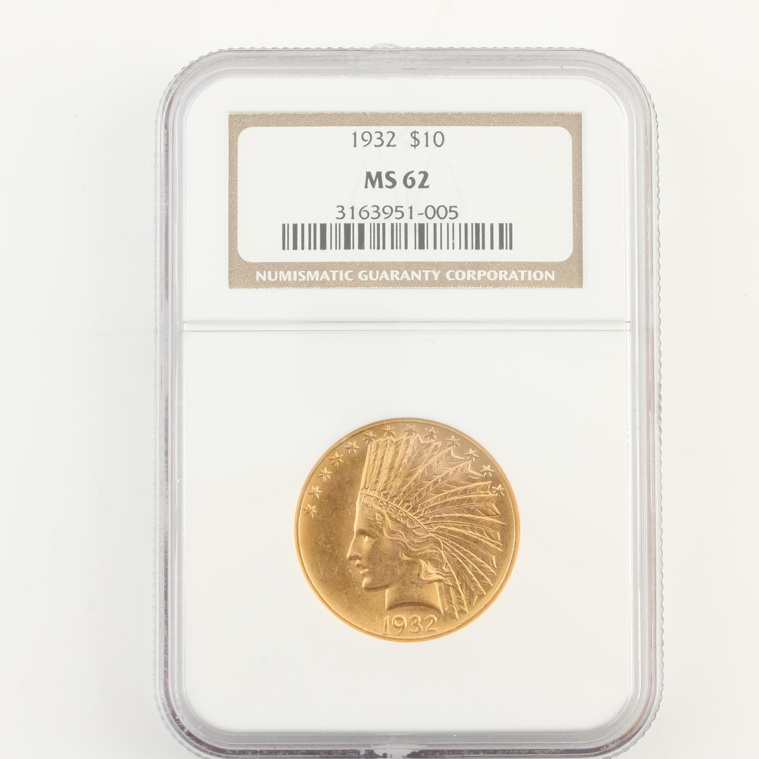 NGC Graded MS62 1932 Indian Head $10 Gold Coin