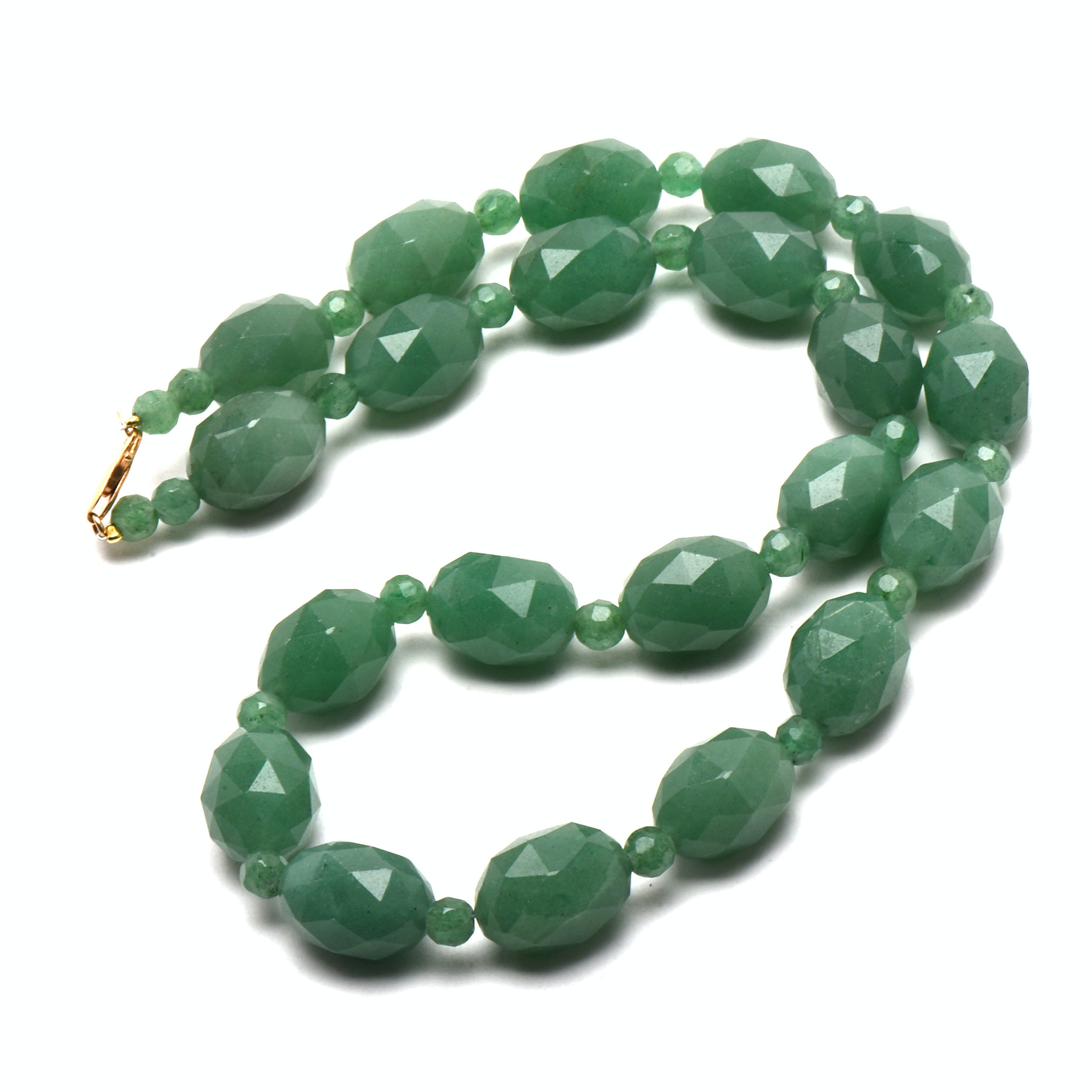 14K Yellow Gold Faceted Aventurine Bead Necklace