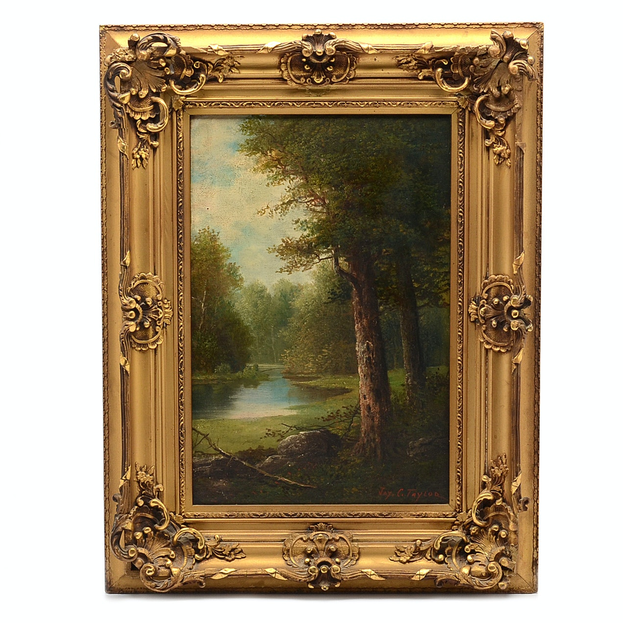 Jay C. Taylor Antique Oil Painting of Forested Landscape