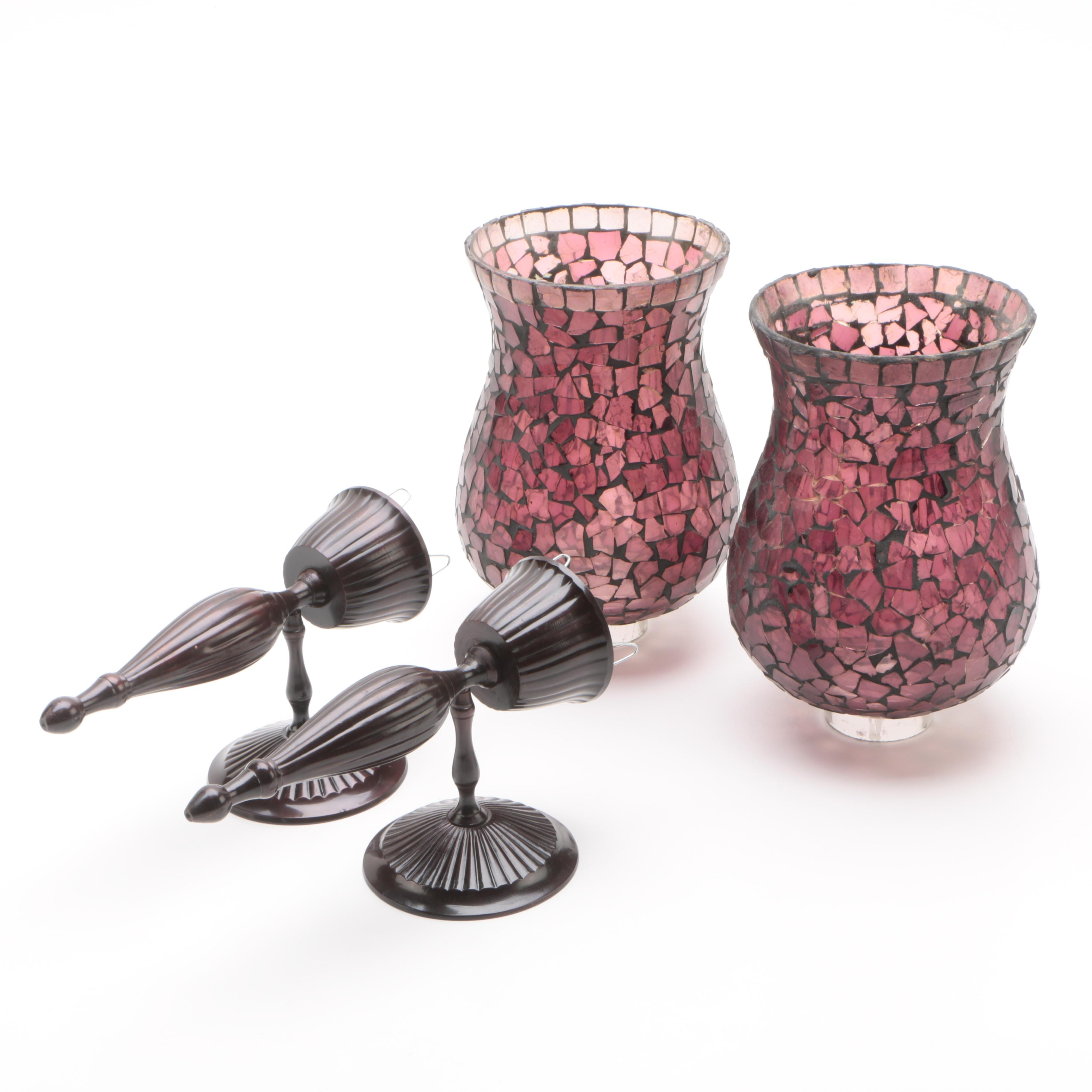 Contemporary Candle Sconces with Mosaic Glass Shades