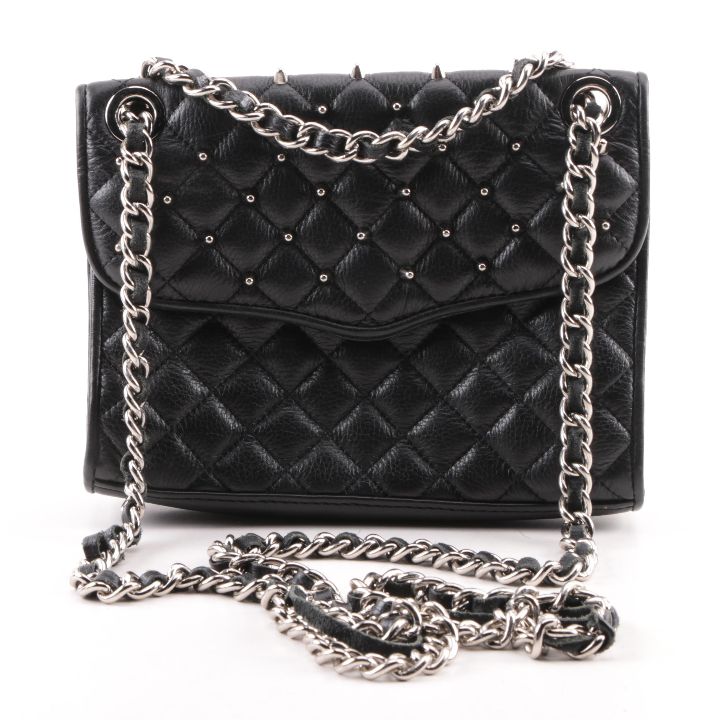 Rebecca Minkoff Black Quilted Leather Studded Flap Handbag