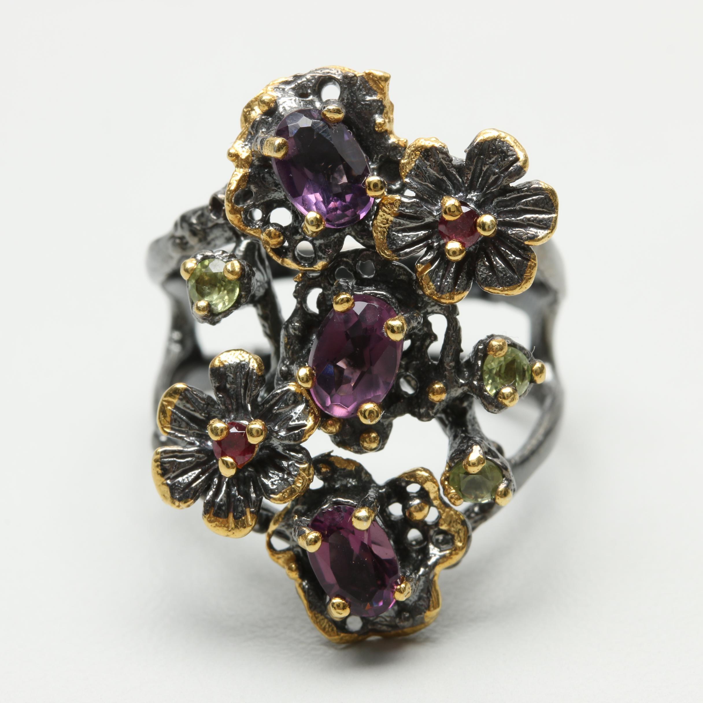 Sterling Silver Amethyst, Peridot and Garnet Ring