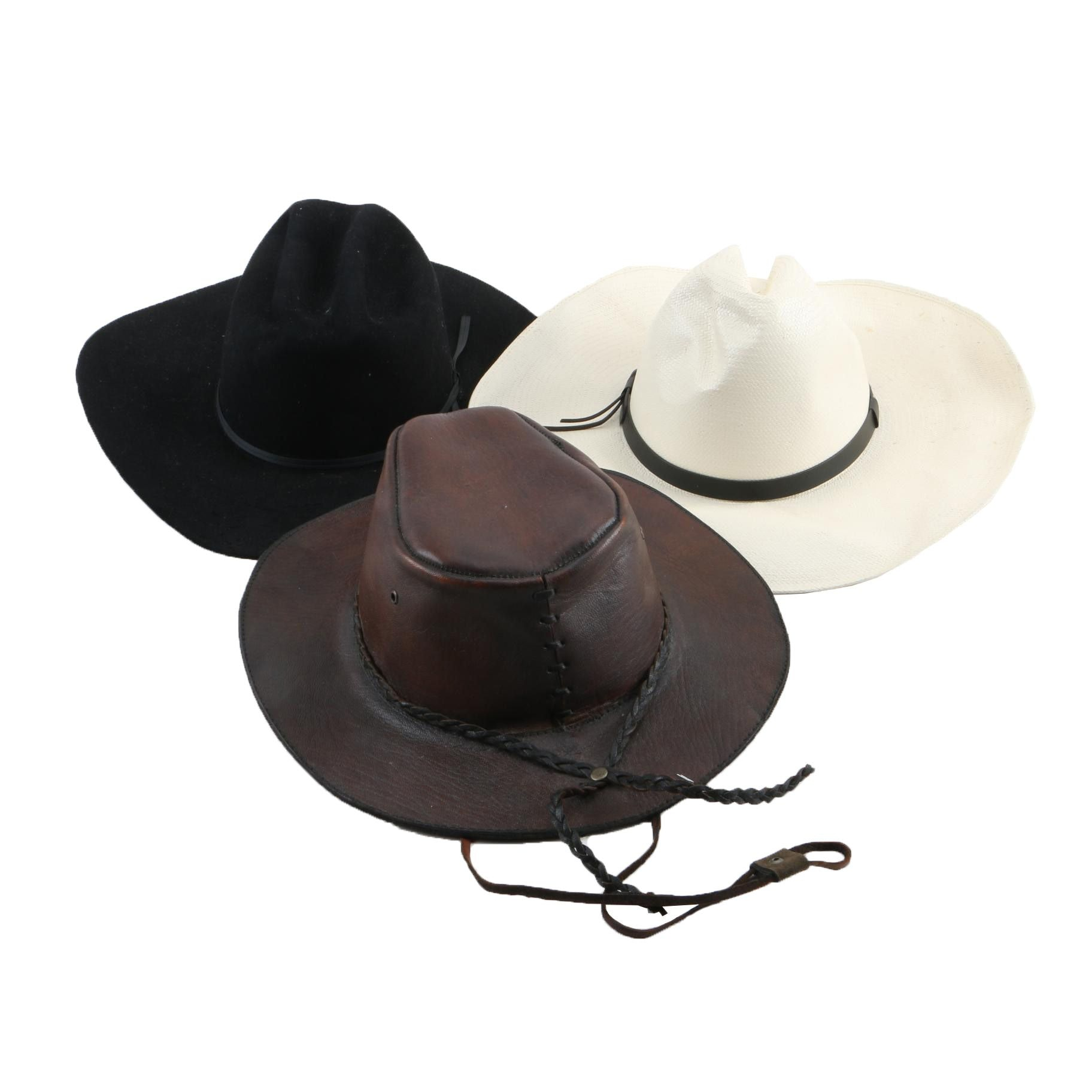 Leather Hat, Bailey 5X Beaver Felt Hat and Bailey Woven Straw Hat