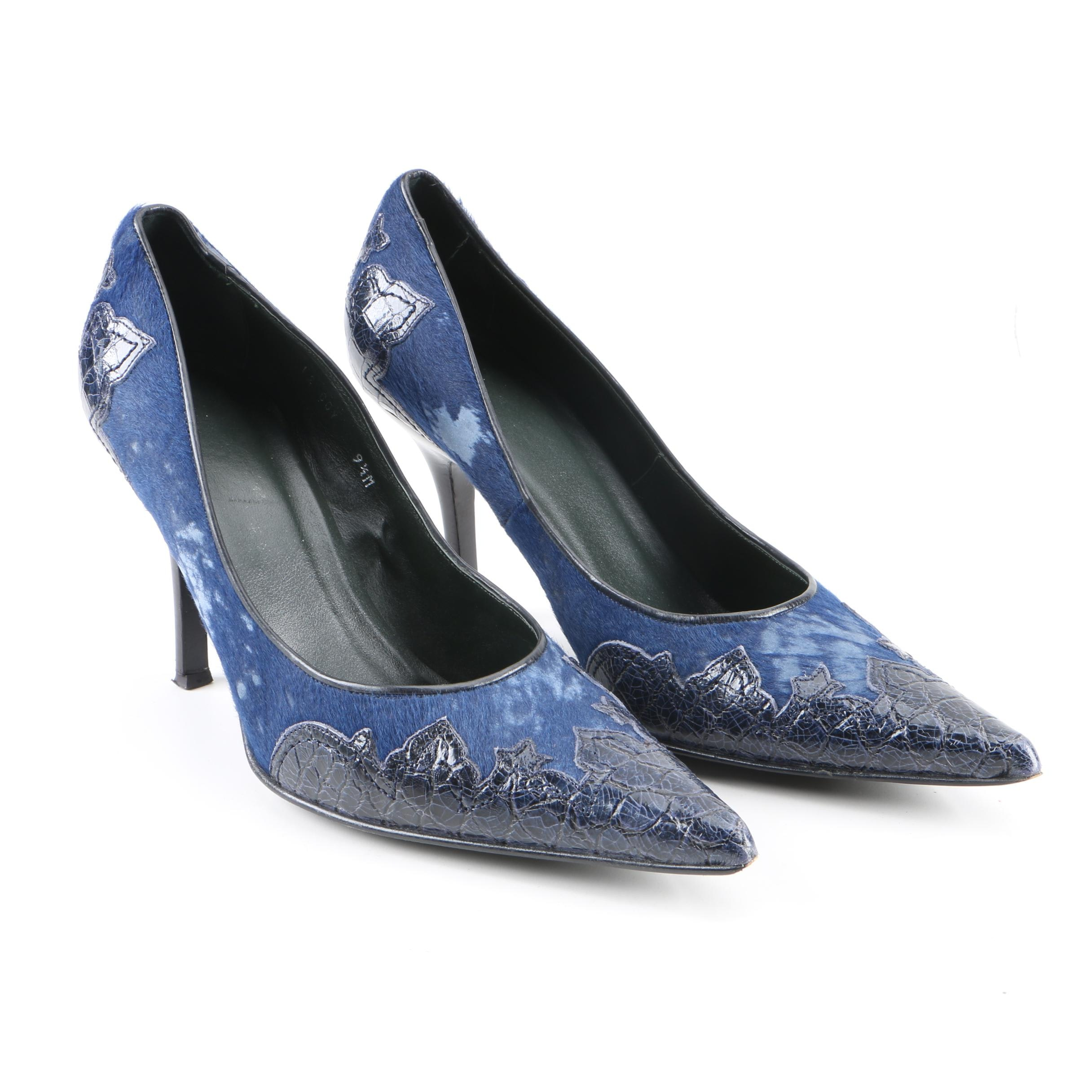 Donald J Pliner Dyed Blue Calf Hair Embossed Leather High Heels
