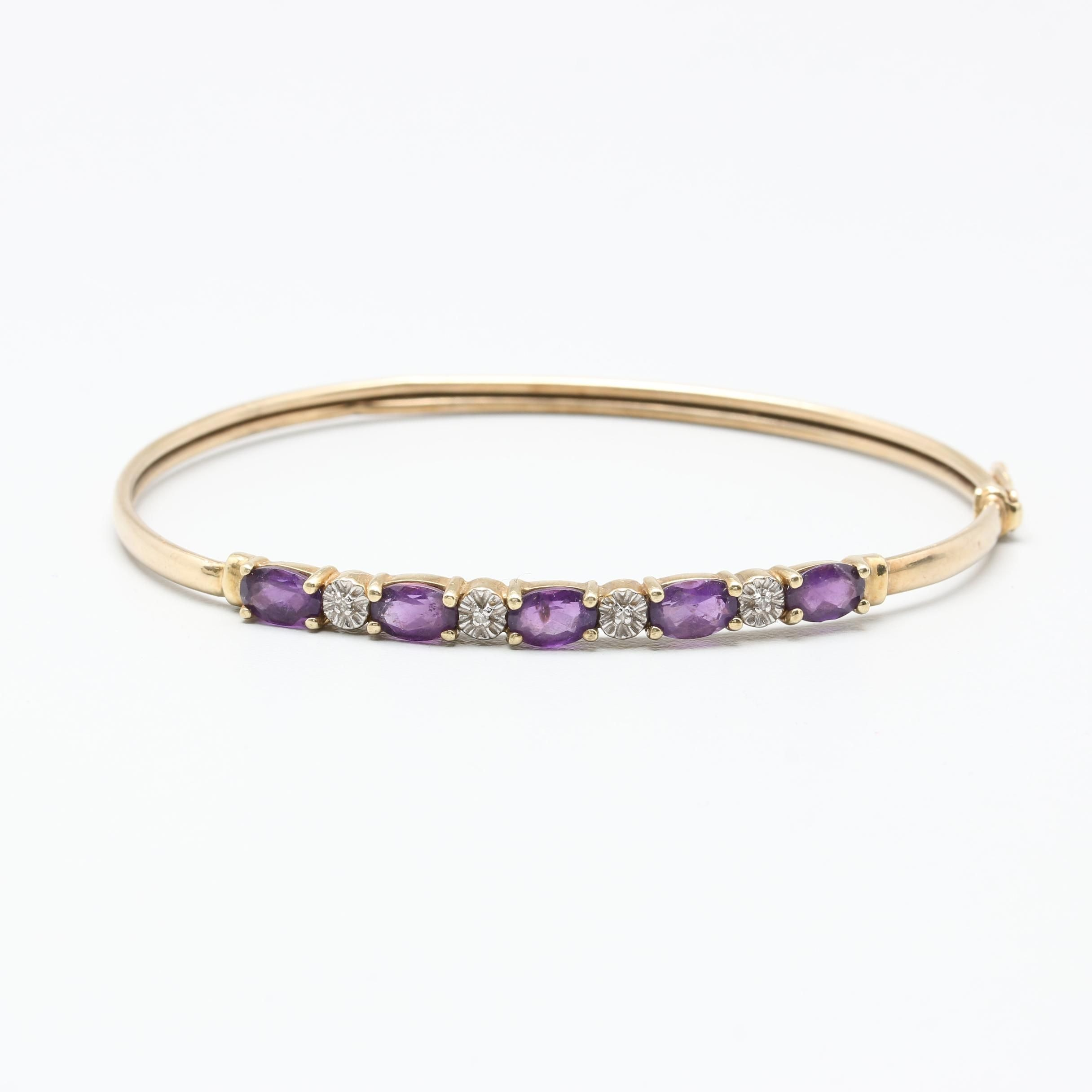 10K Yellow Gold Amethyst and Diamond Bracelet