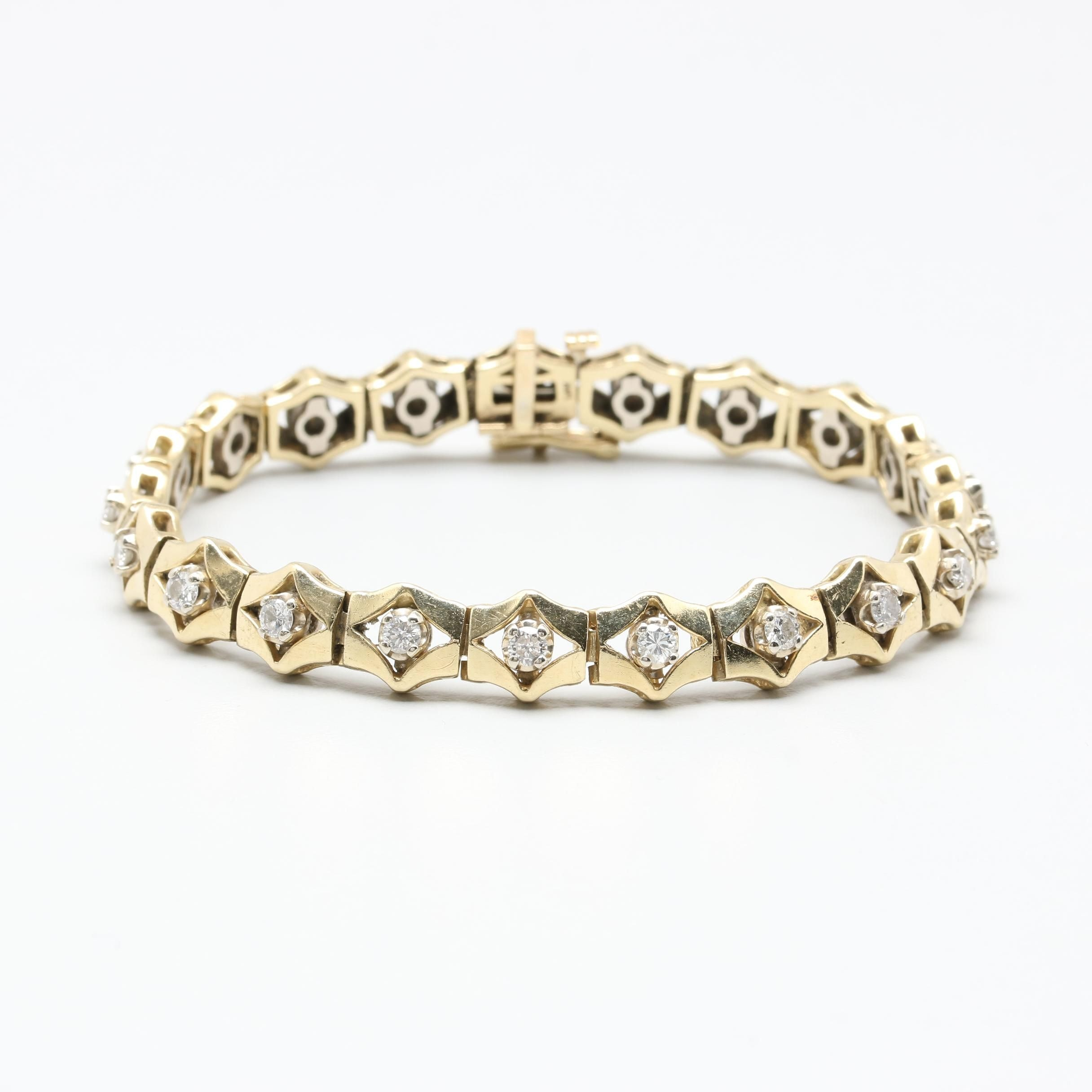 14K Yellow Gold 1.68 CTW Diamond Tennis Bracelet