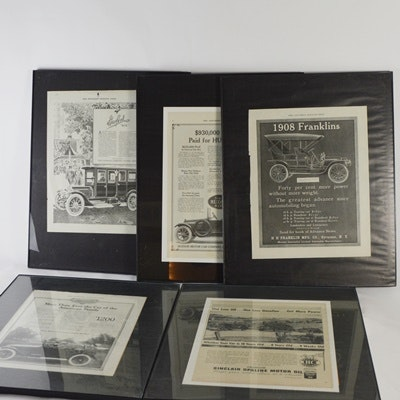 Framed Saturday Evening Post Car and Oil Advertising Pages