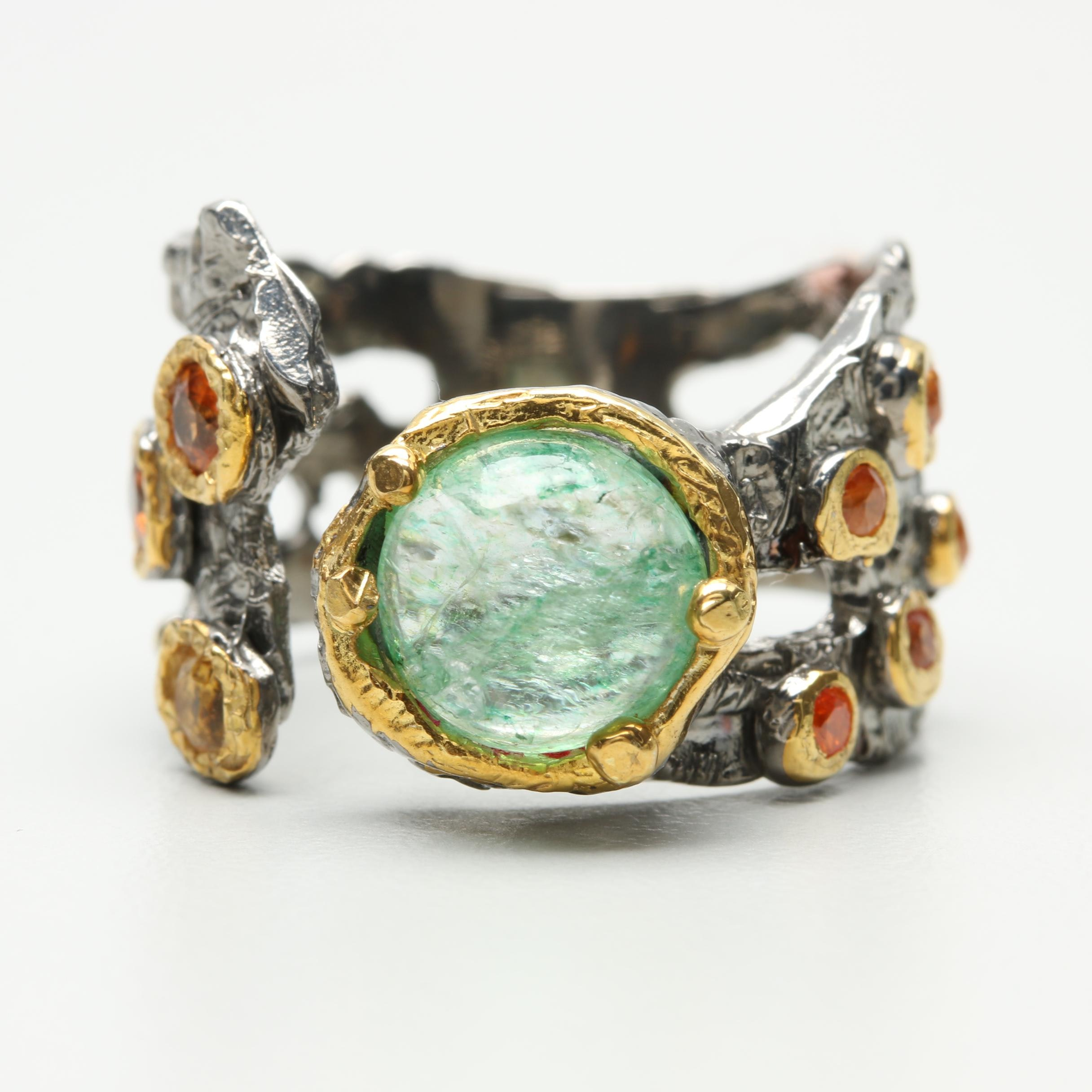 Sterling Silver Organic Ring Featuring Emerald, Garnet and Yellow Sapphire