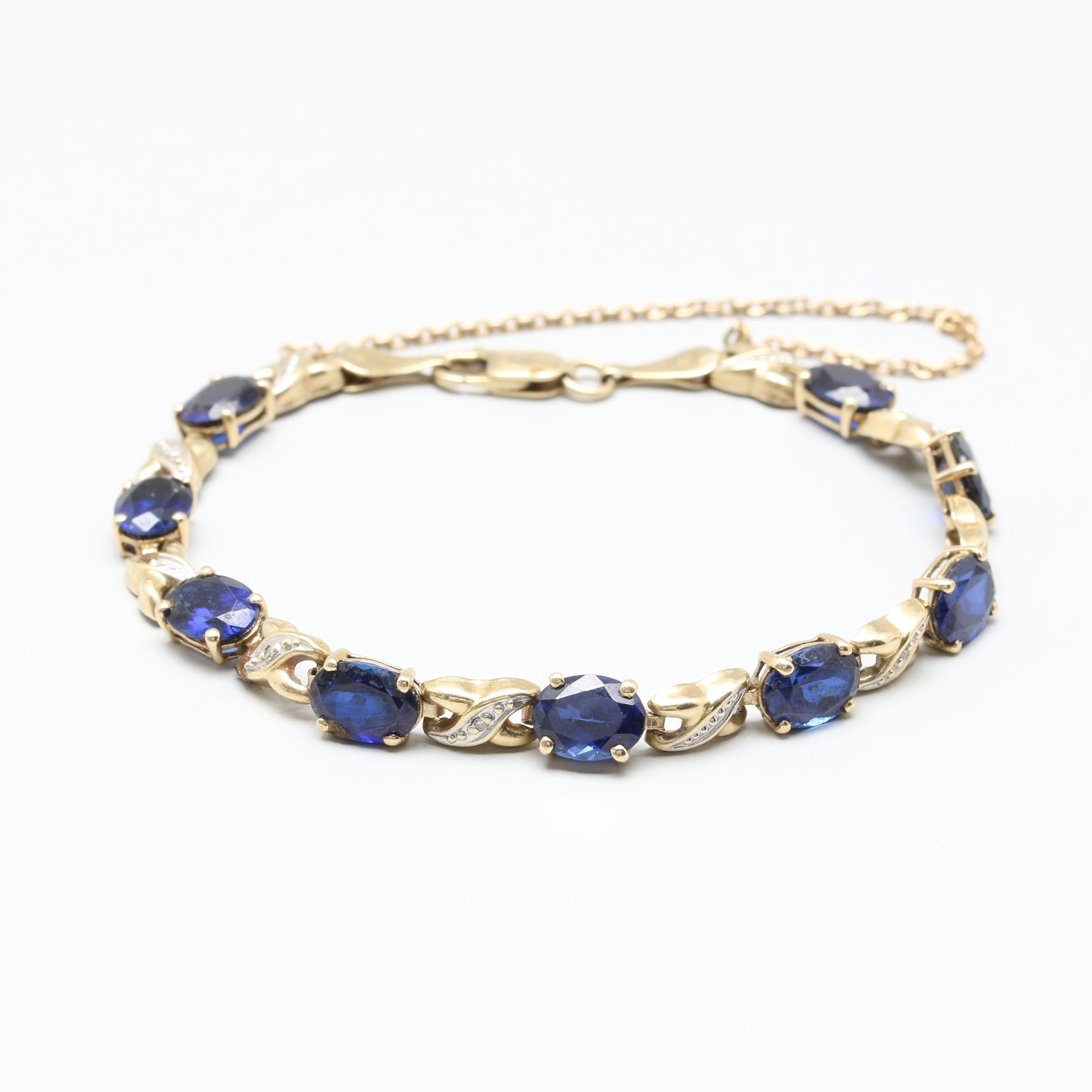 10K and 14K Yellow and White Gold Synthetic Sapphire and Diamond Bracelet