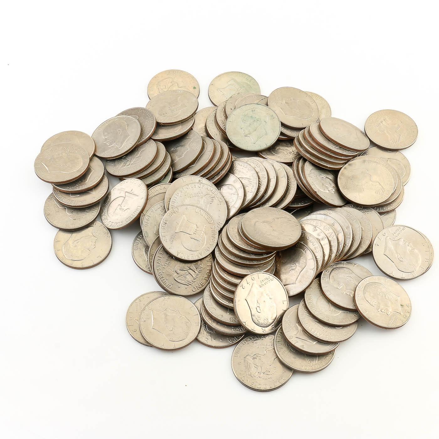 113 Eisenhower Dollar Coins 1971-1977
