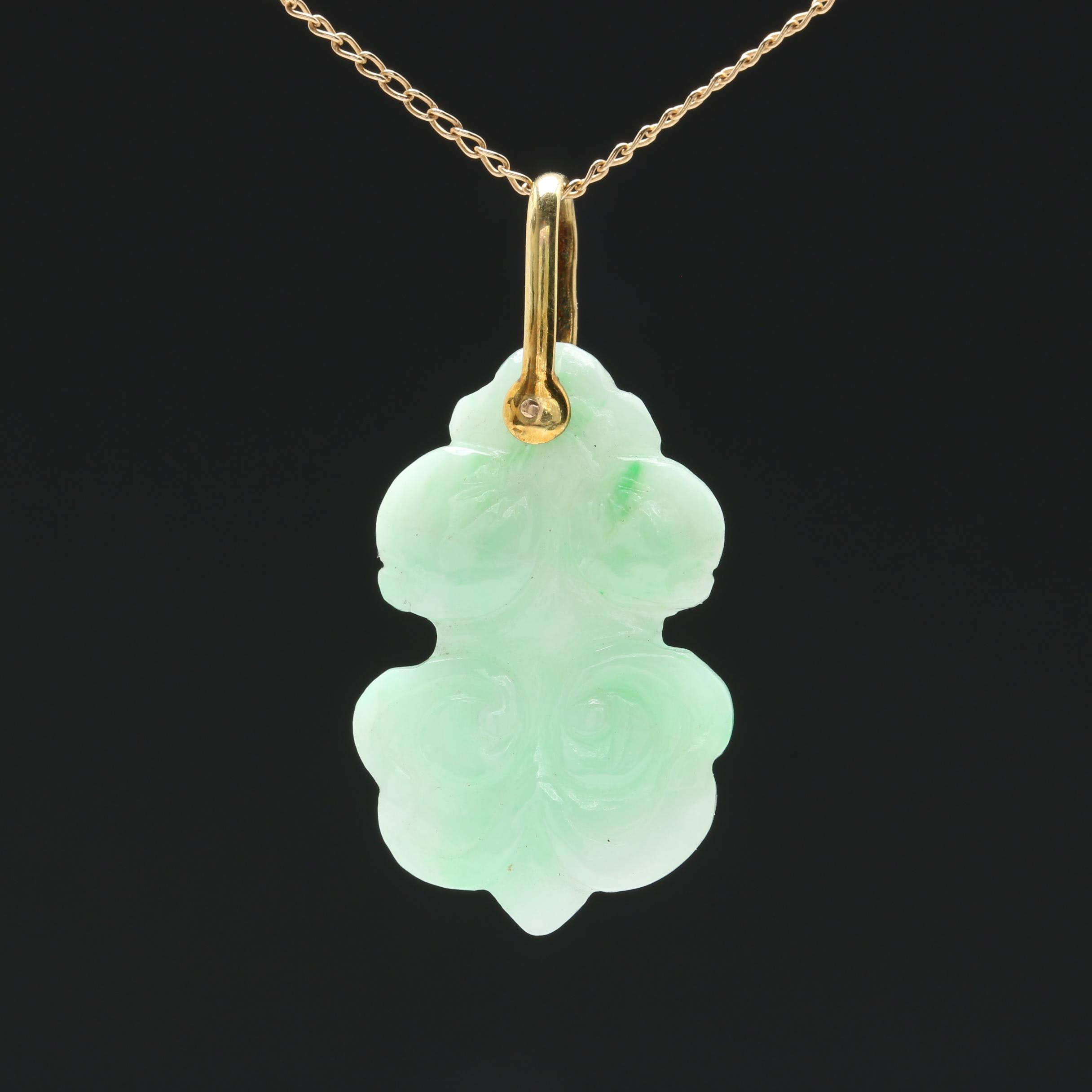 14K Yellow Gold Carved Jadeite Pendant Necklace