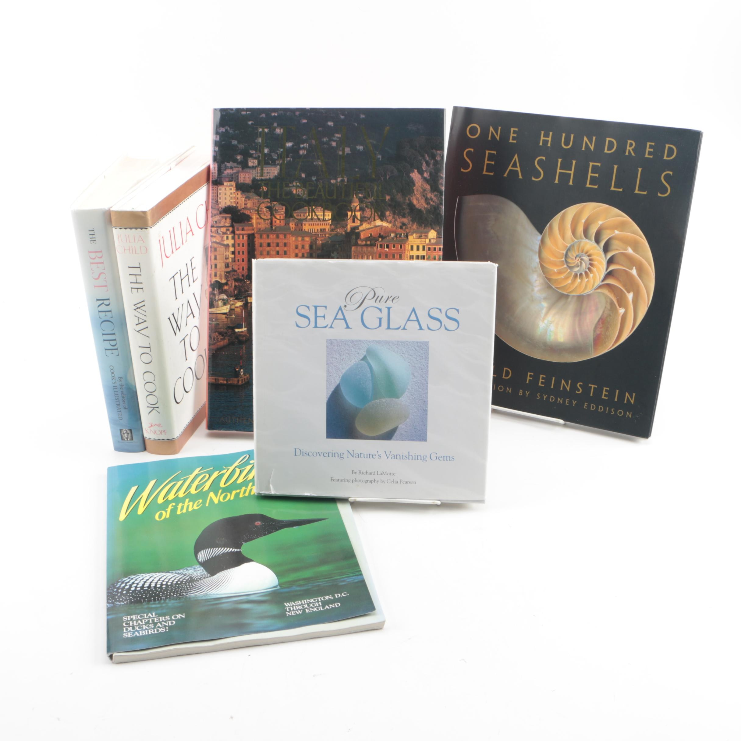Books on Cooking, Waterbirds, Sea Shells, and Sea Glass
