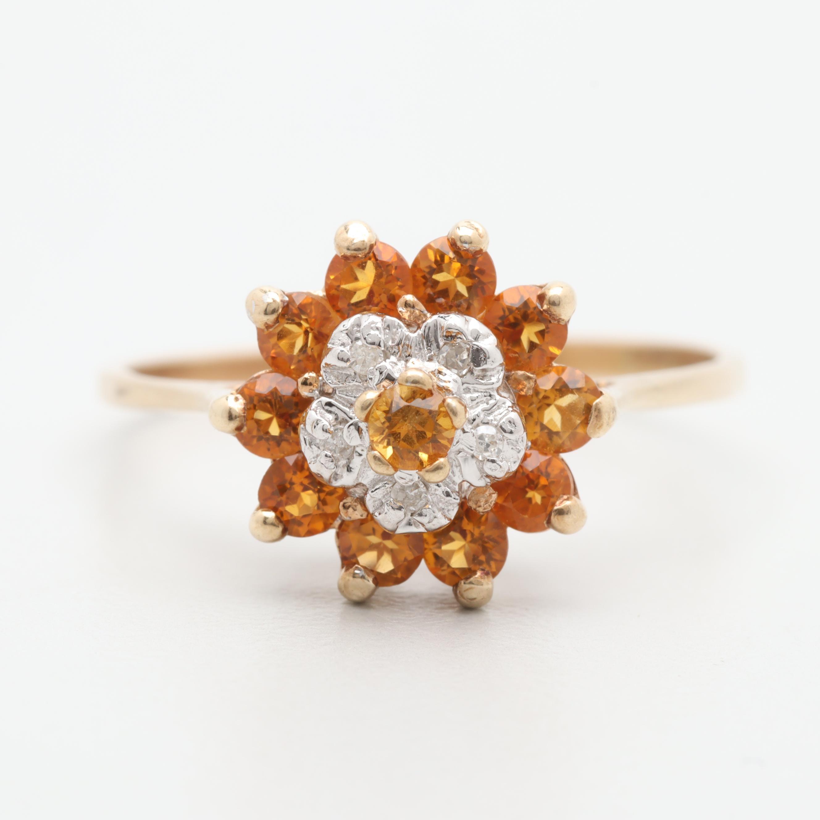 10K Yellow Gold Diamond and Citrine Ring