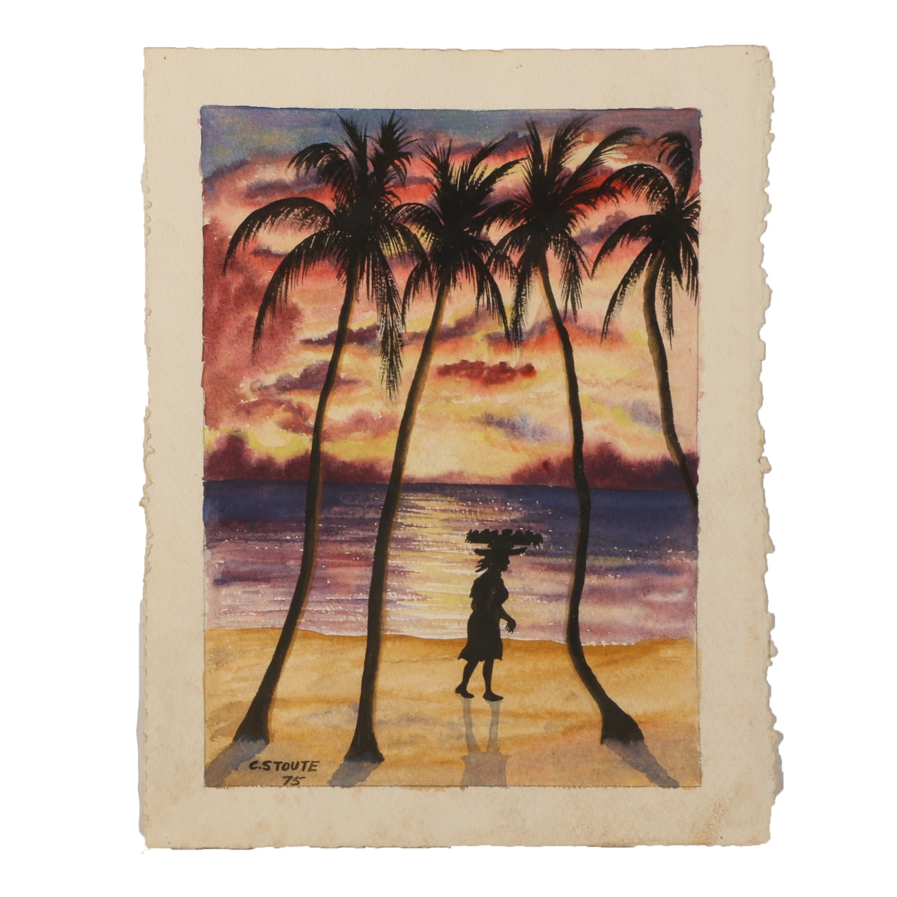 C. Stoute Vintage Watercolor Painting of Tropical Scene