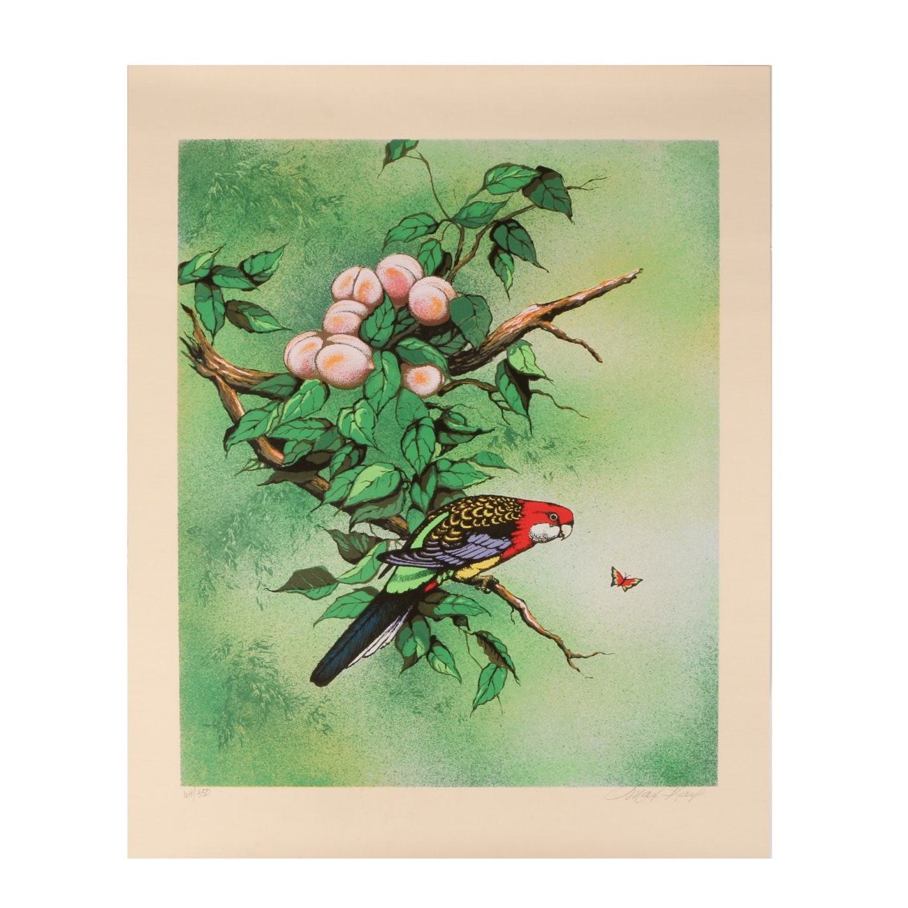 Max Karp Limited Edition Serigraph of Parrots