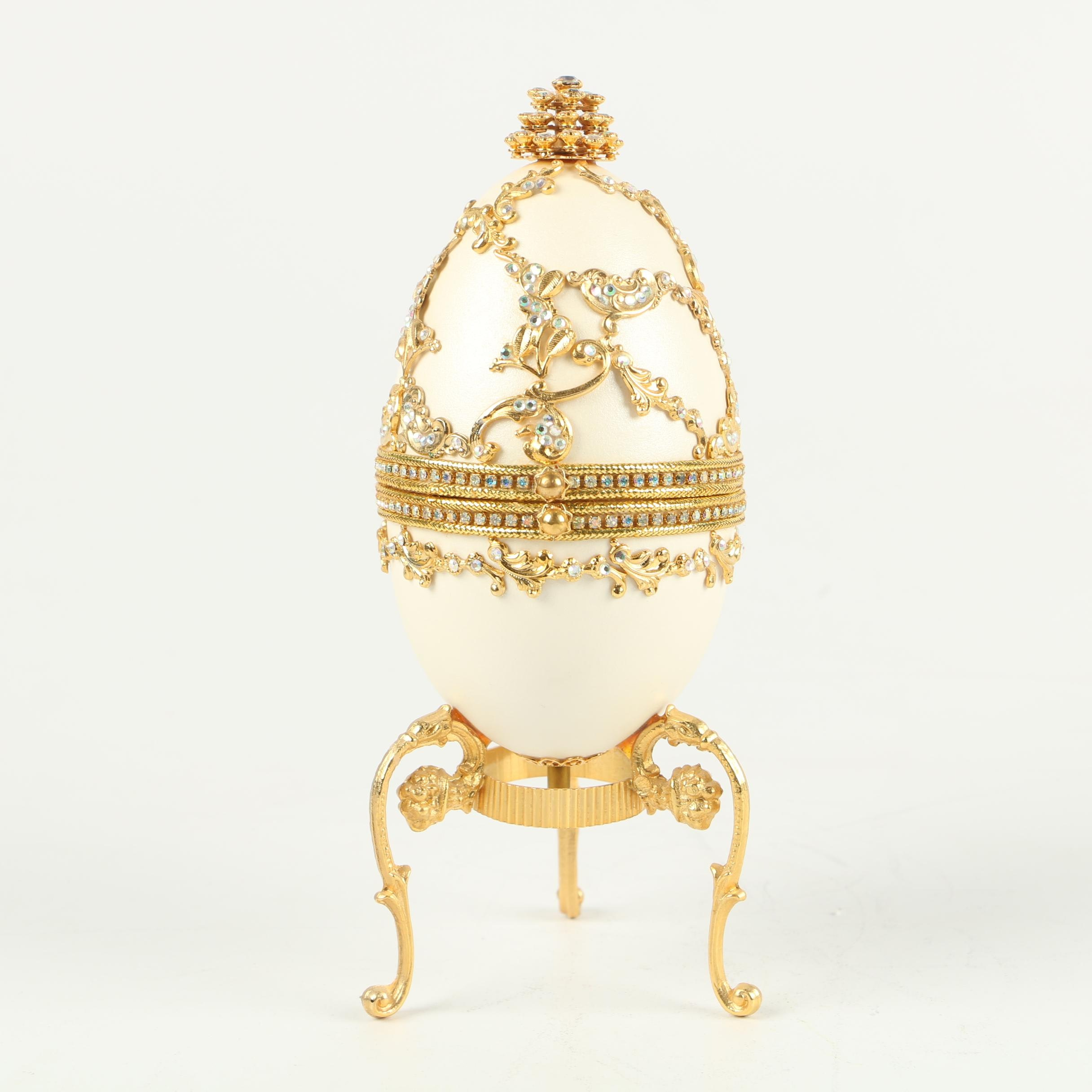 """Fabergé Style """"Jewel"""" Encrusted Egg Shell Music Box on Stand with Gilt Accents"""
