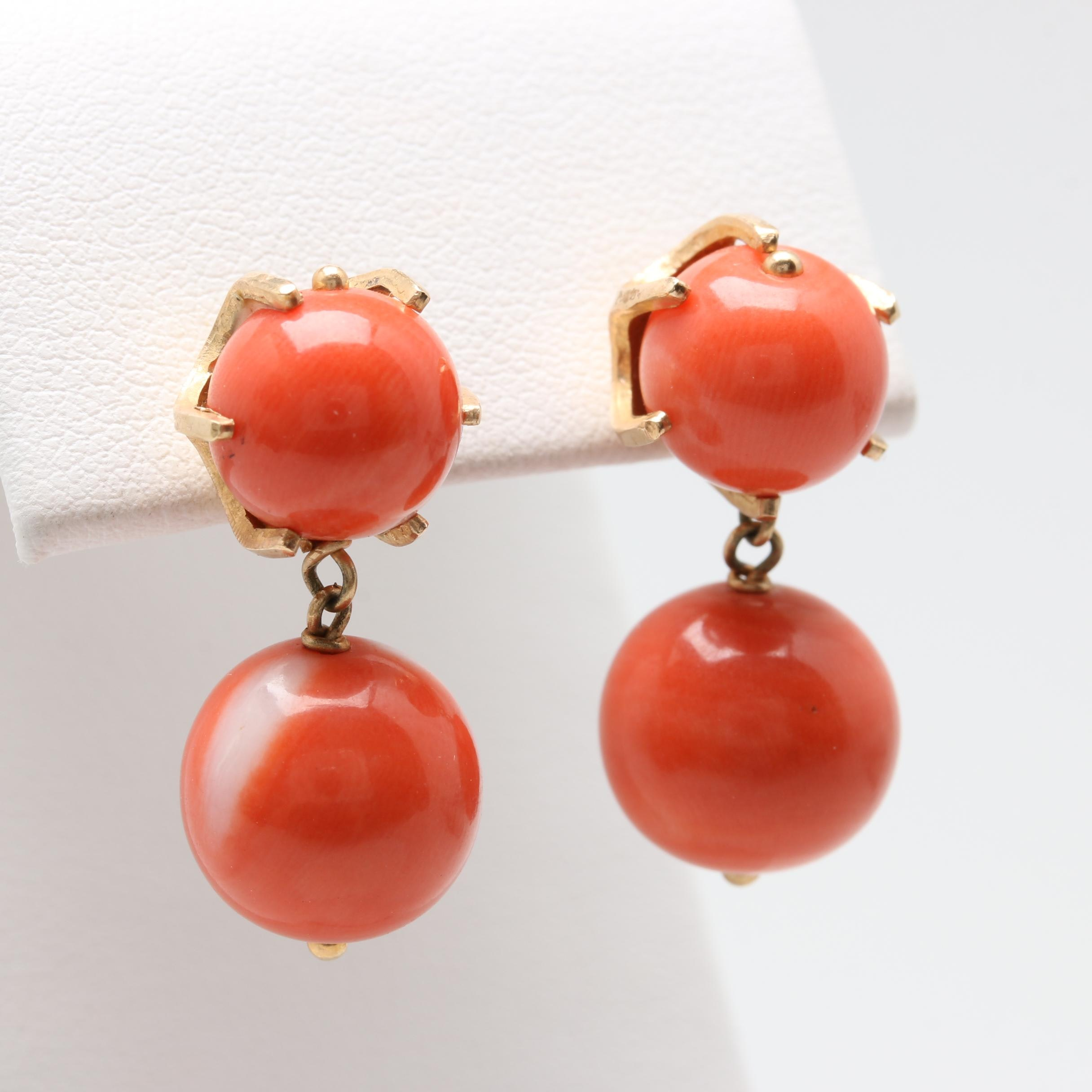 14K Yellow Gold Coral Bead Earrings