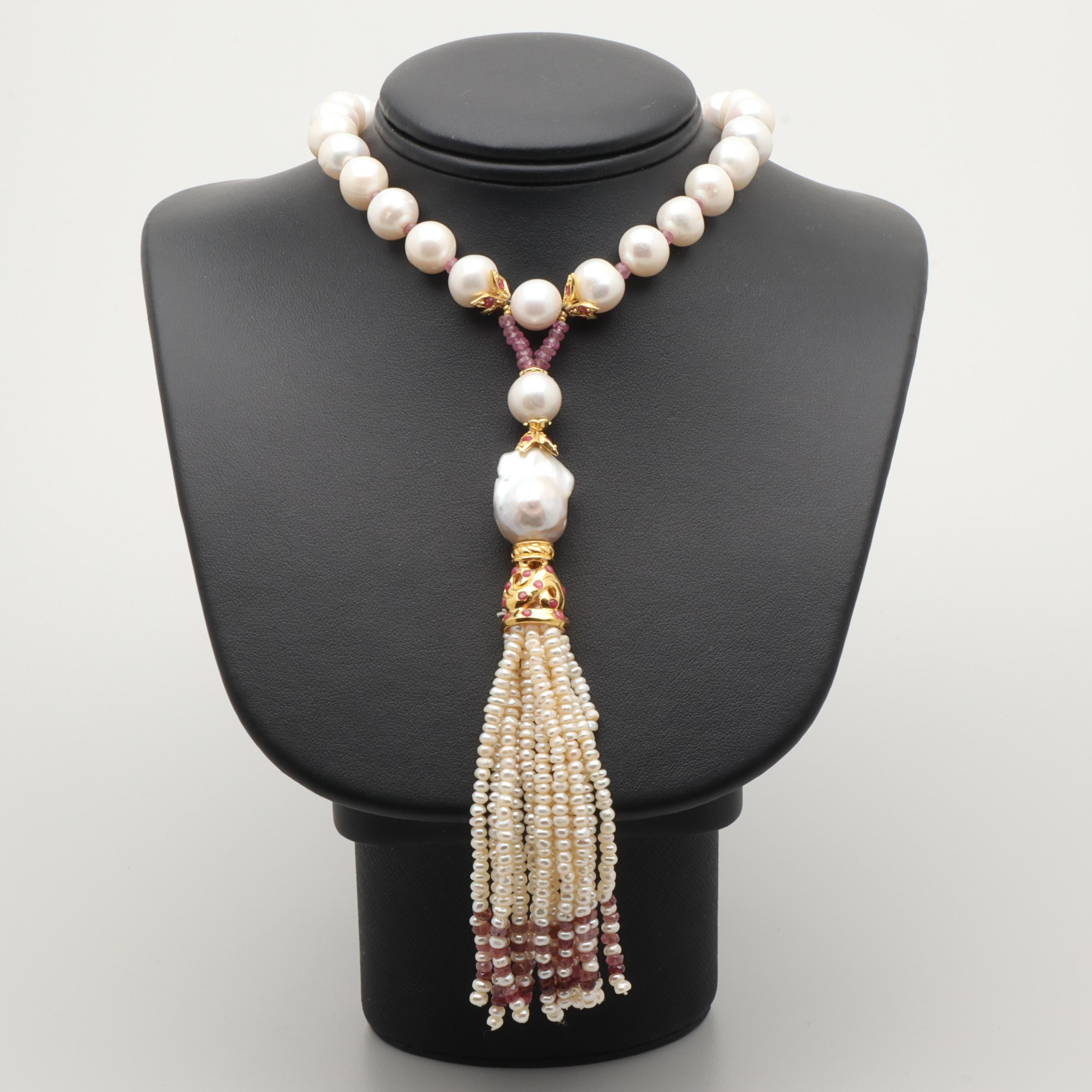 Gold Wash on Sterling Silver Cultured Pearl and Ruby Necklace