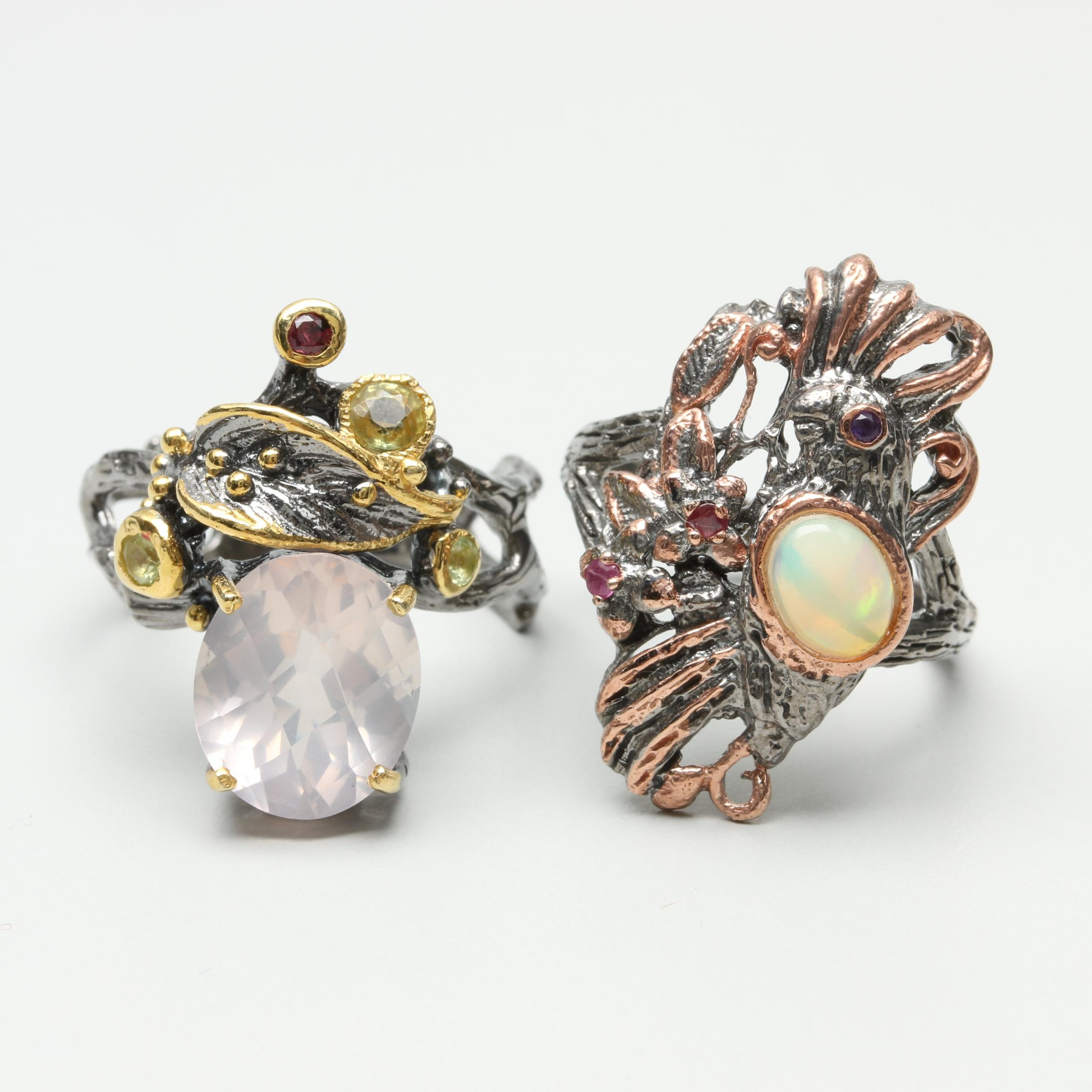 Sterling Silver Rings Featuring Opal and Rose Quartz