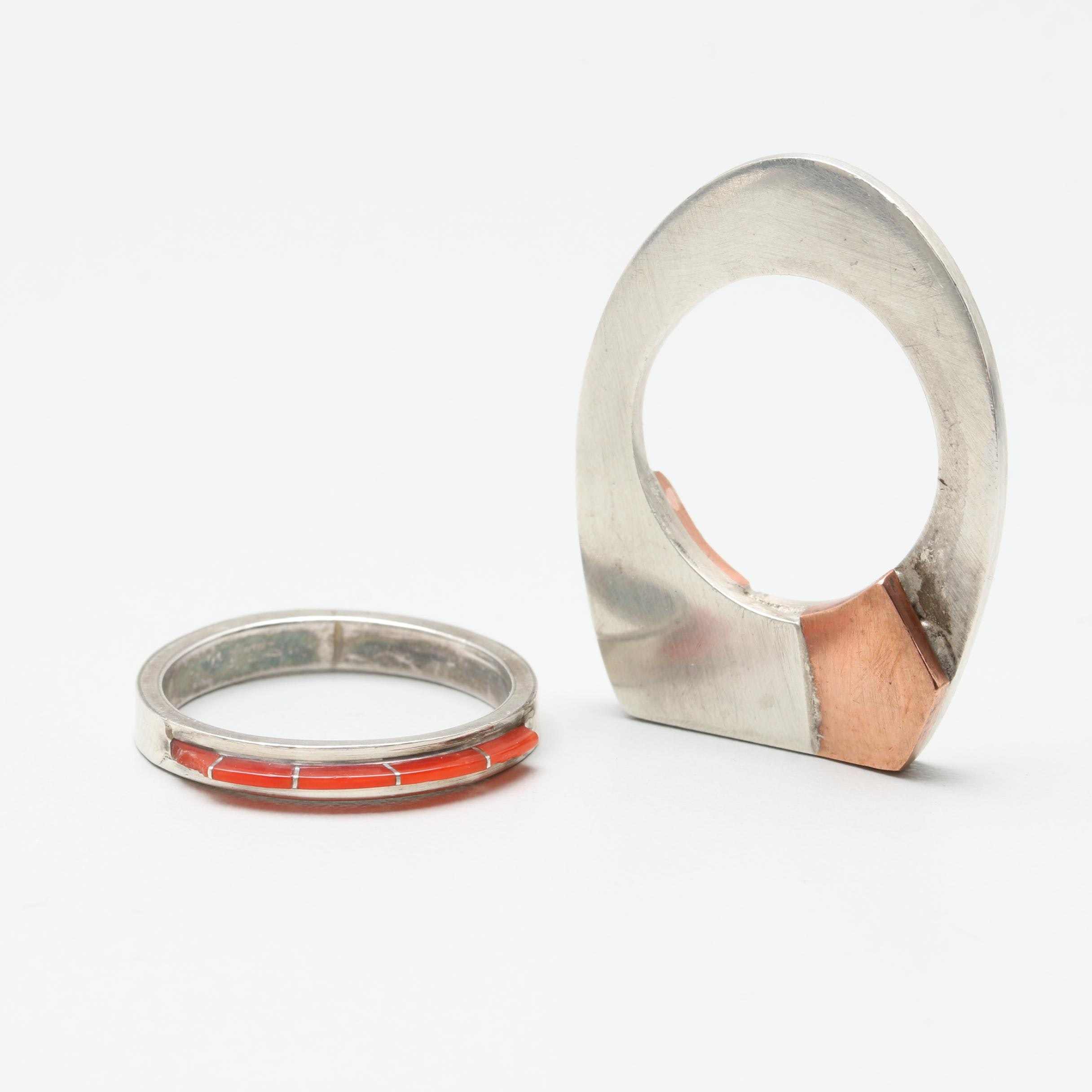 Sterling Silver Rings Including Coral and Copper Accents