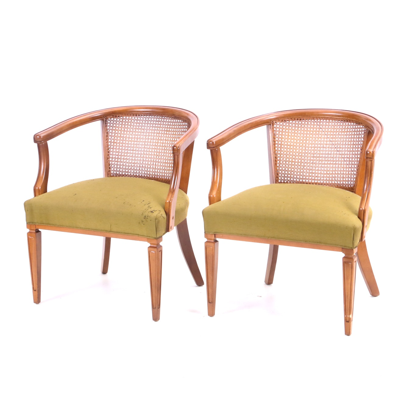 Pair of Mid-Century Caned Armchairs