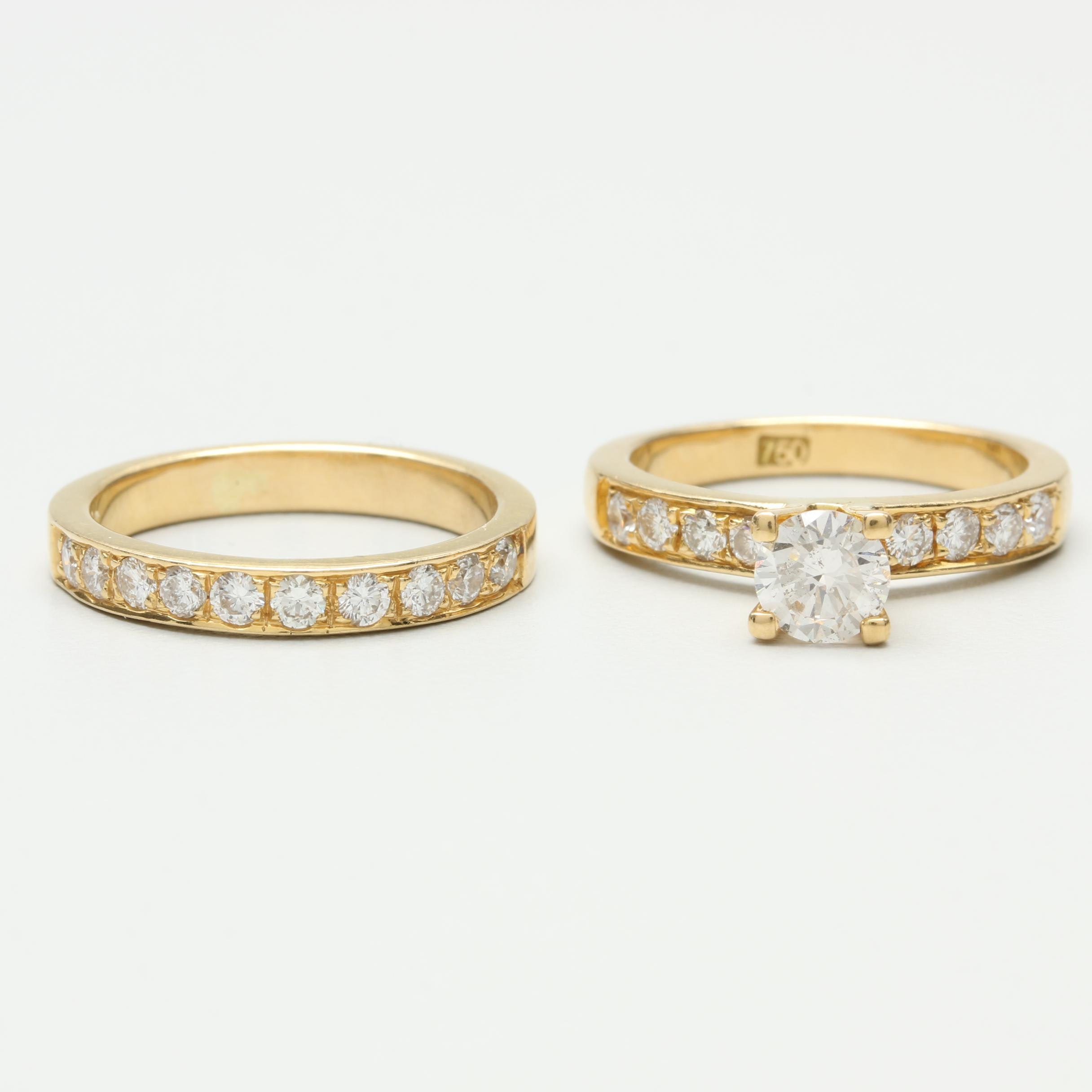 18K Yellow Gold Diamond 1.28 CTW Diamond Ring Set