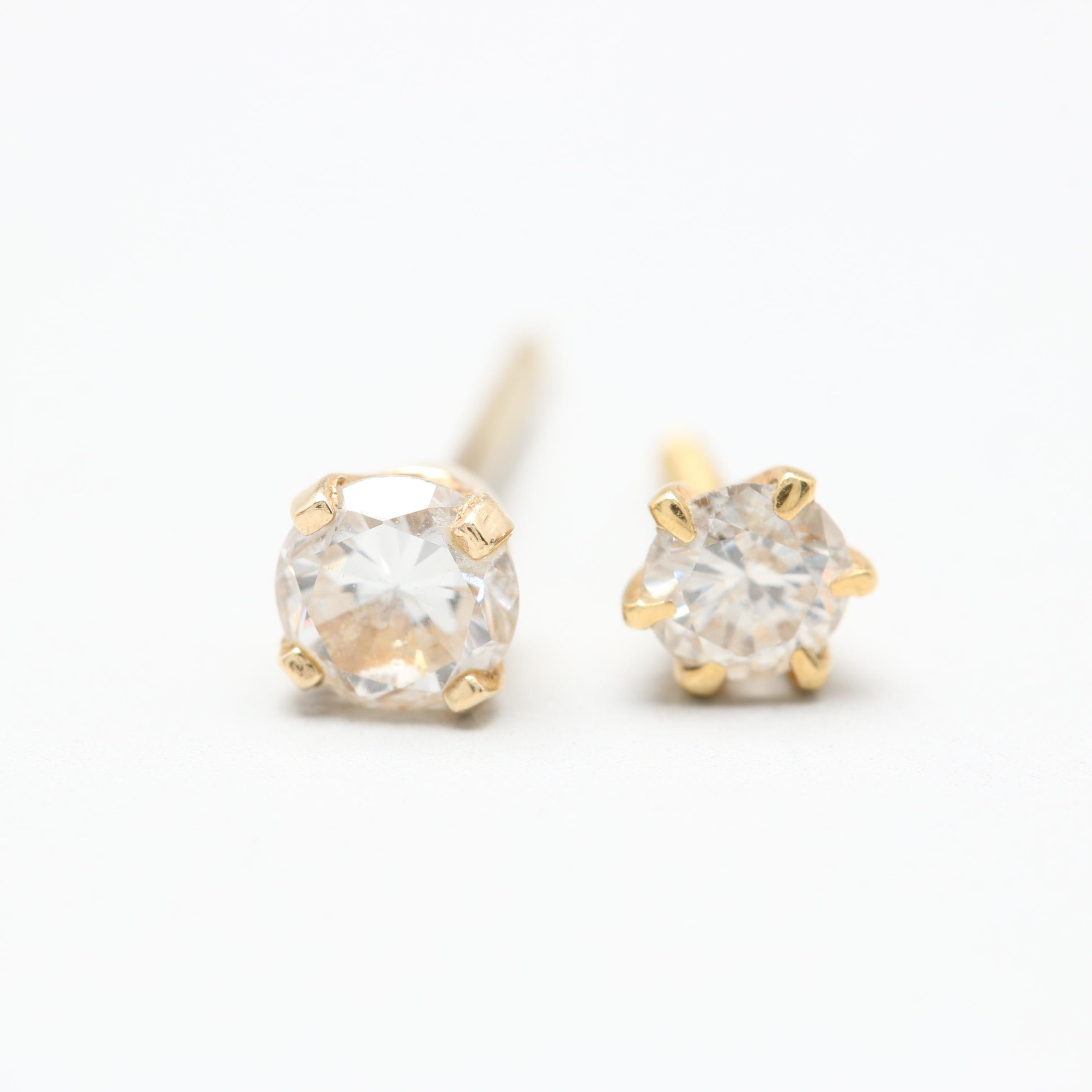 14K and 18K Yellow Gold Diamond Stud Earrings