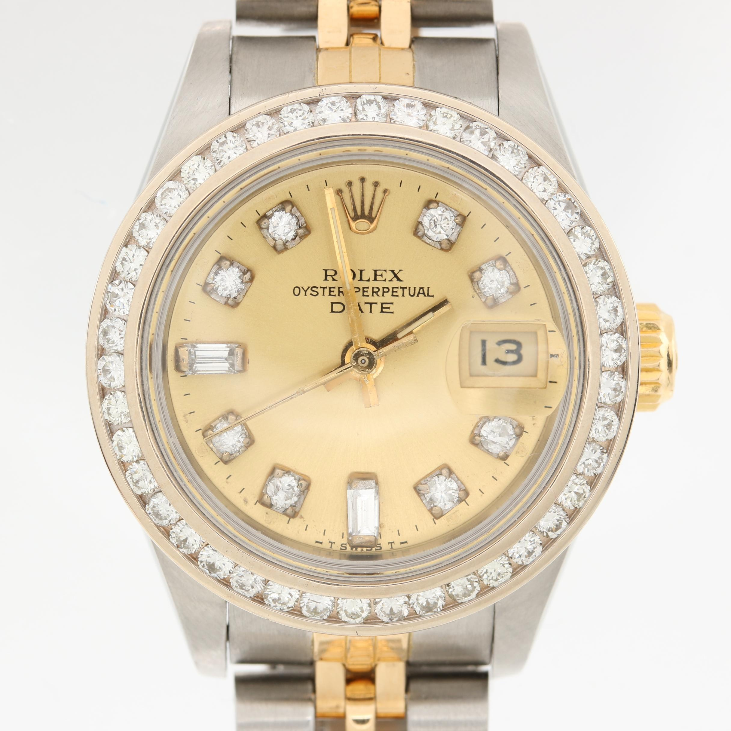 Rolex Oyster Perpetual 18K, 14K Gold and Stainless 1.19 CTW Diamond Wristwatch