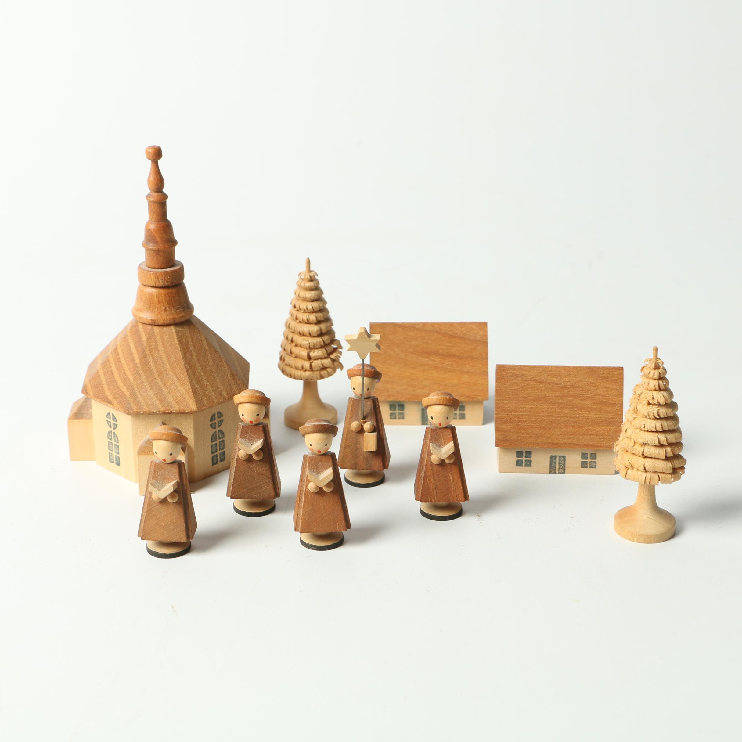 Vintage East German Carved Wooden Christmas Carolers and Village Figurines