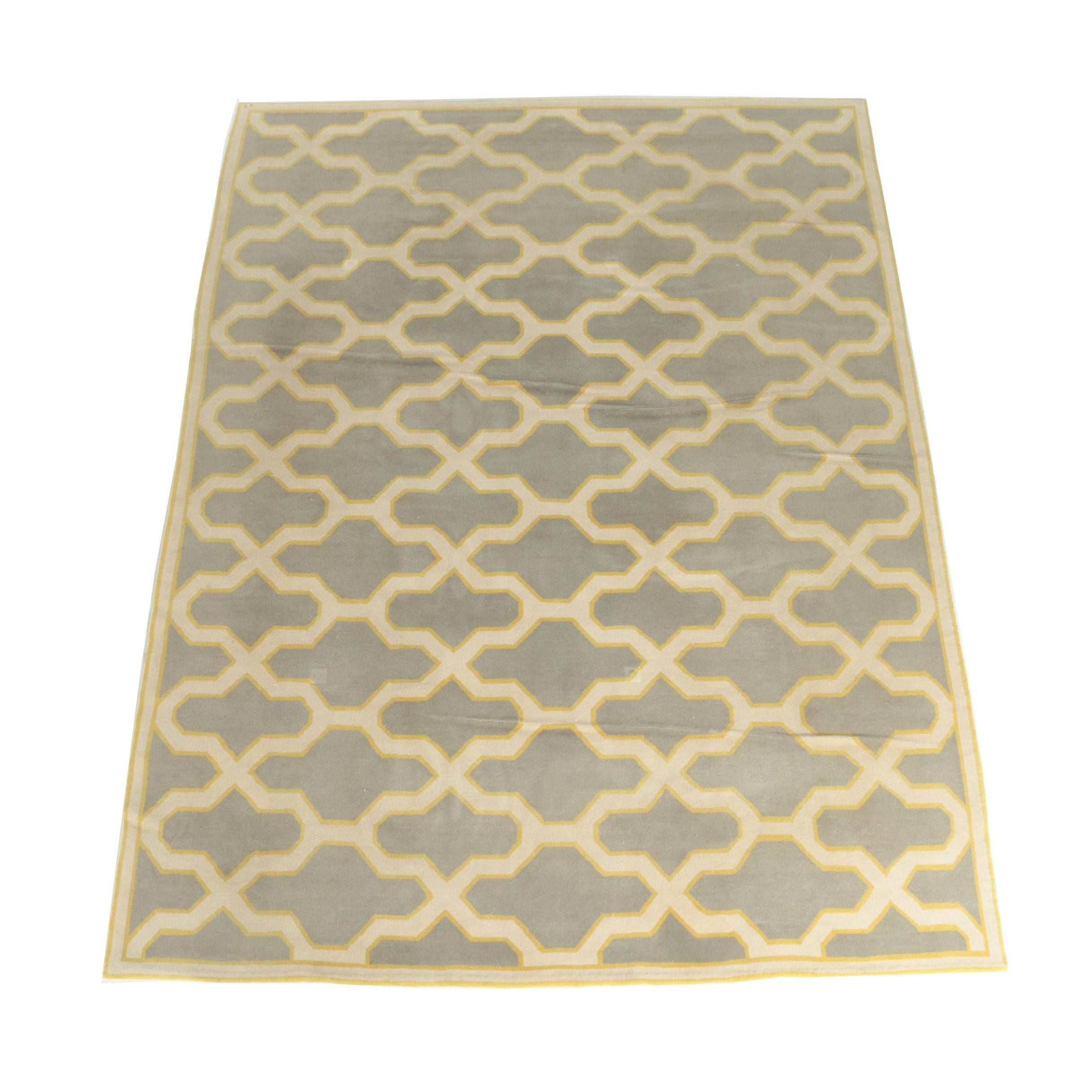 Power-Loomed Ogee Pattern Wool Area Rug