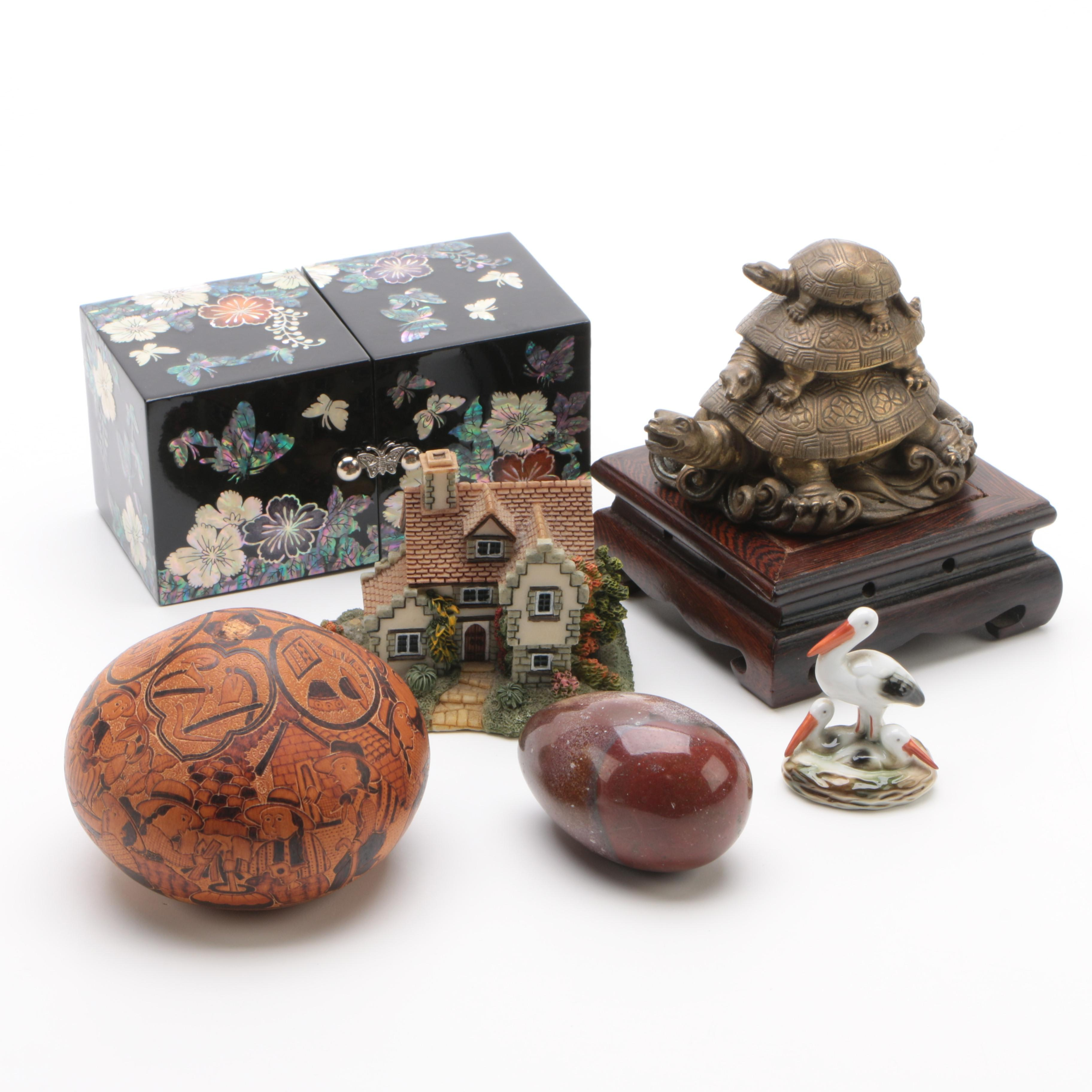 Etched Pictorial Gourd, Inlaid Lacquered Box, Carved Jasper Egg, and Figurines
