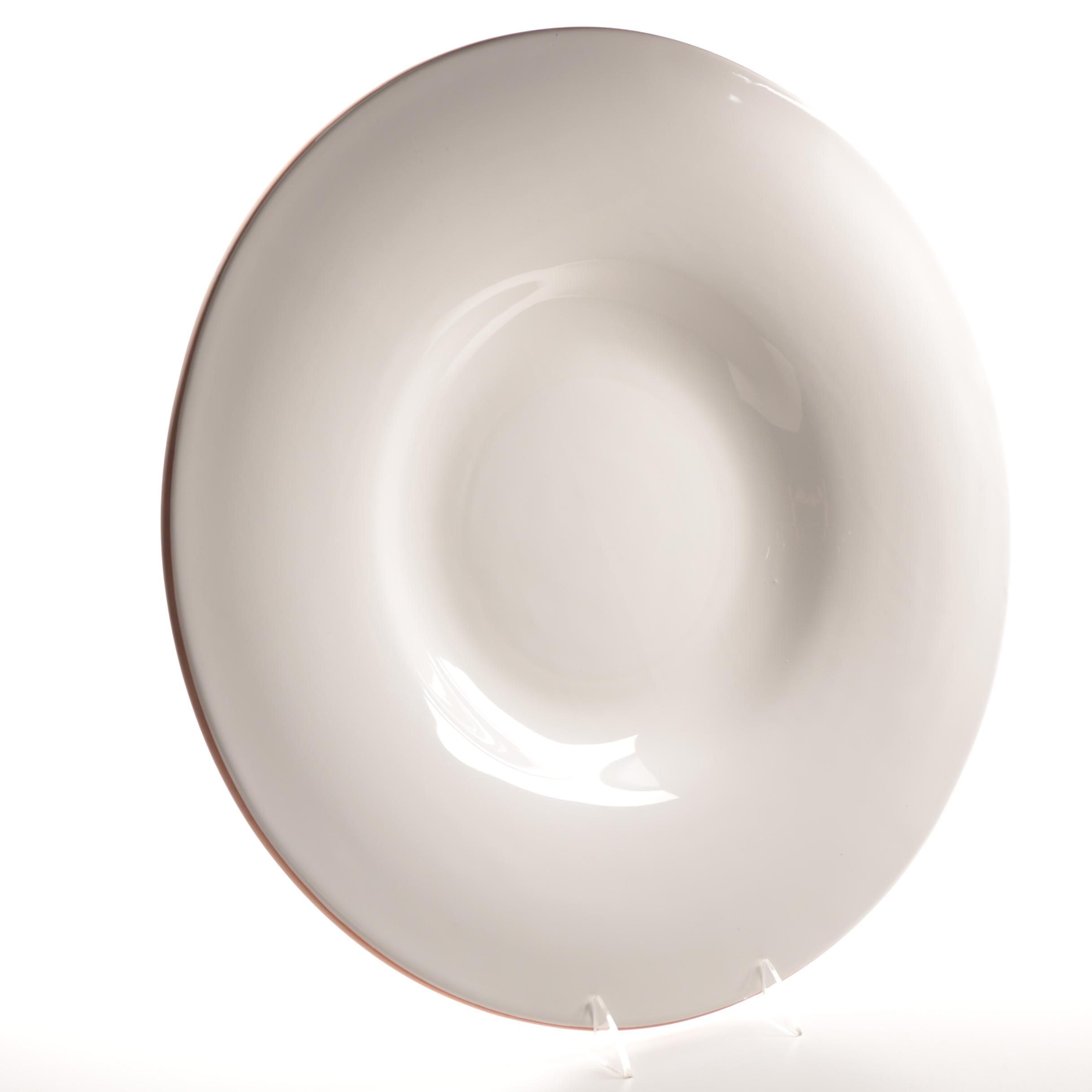 Antica Fornace Large White Pottery Serving Bowl