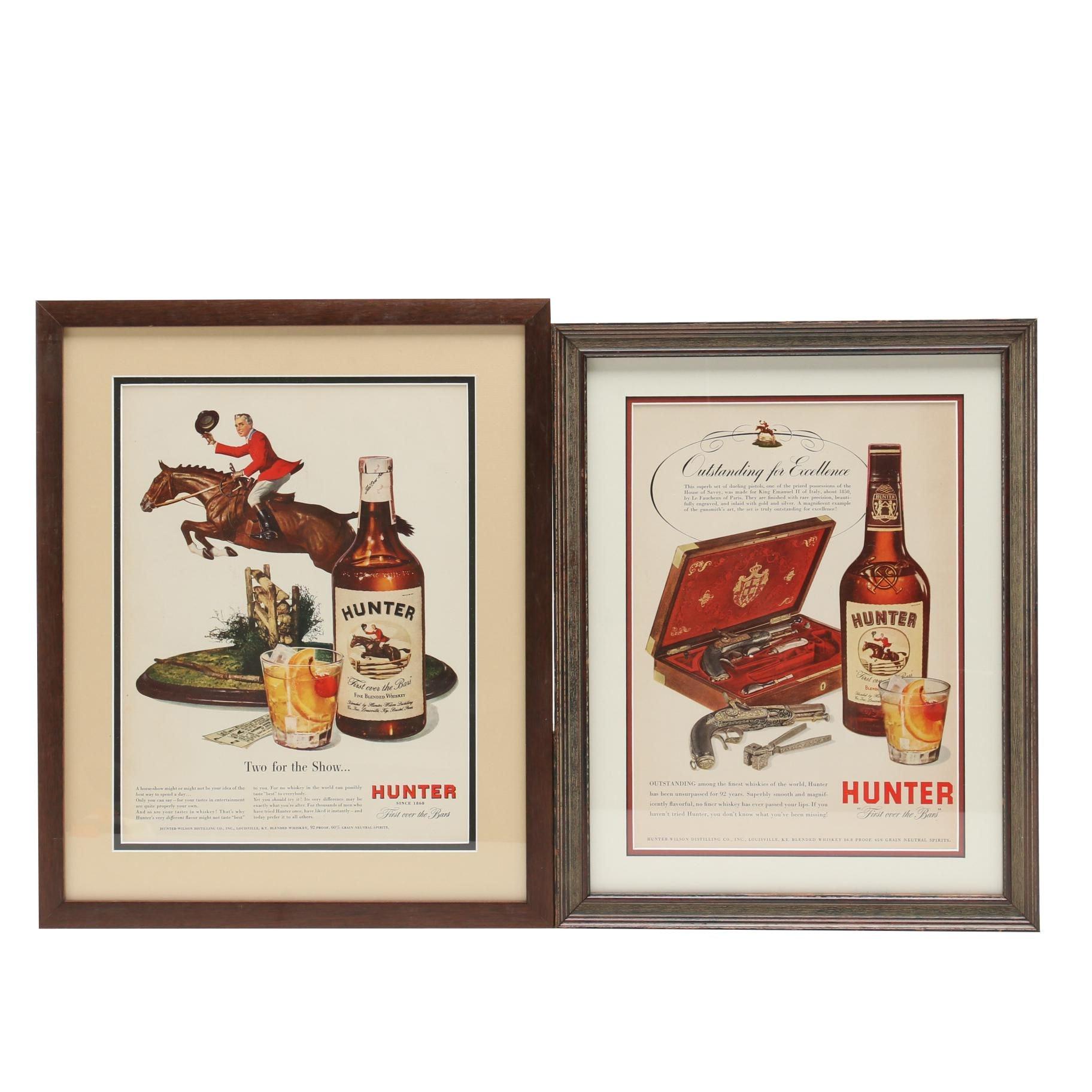 Two Circa 1940s Life Magazine Print Advertisements for Hunter Whiskey