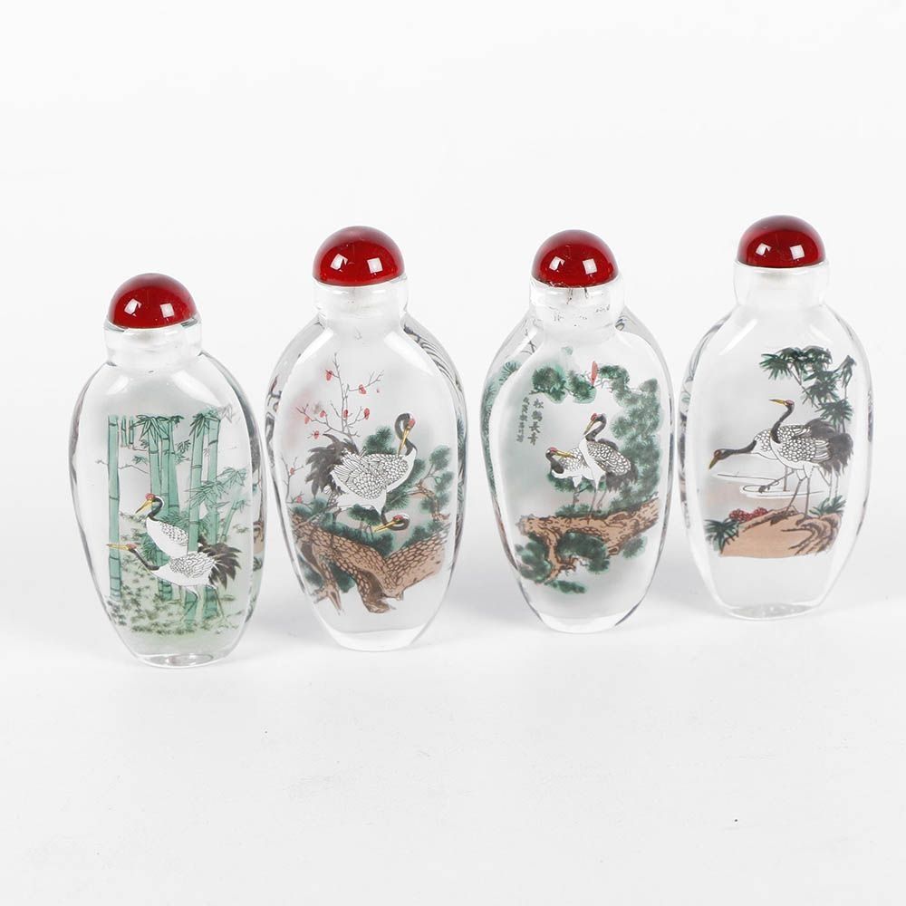 "Chinese Reverse Painted Glass ""Red Crowned Cranes of Four Seasons"" Snuff Bottles"