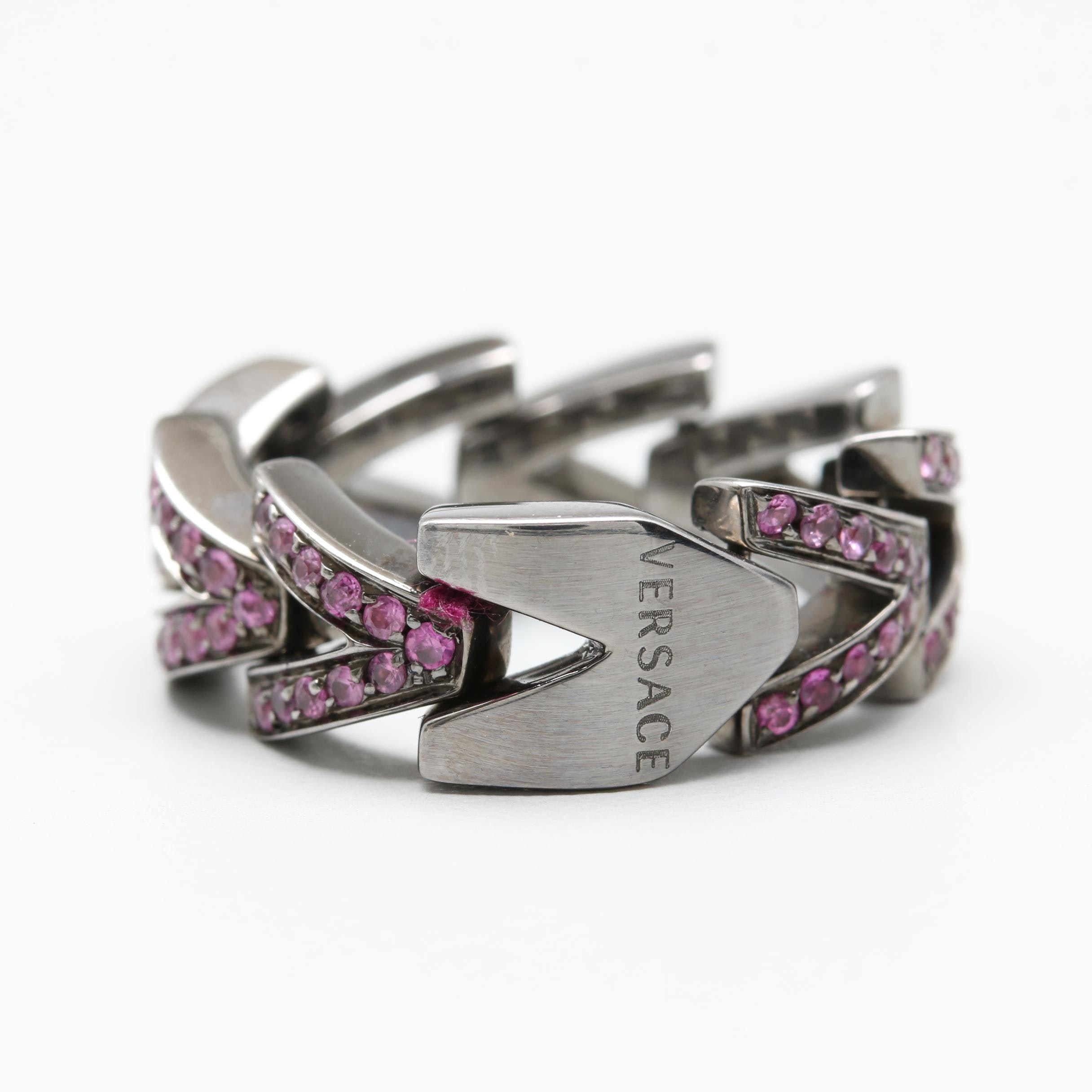 Versace 18K White Gold Black Rhodium Pink Sapphire Ring