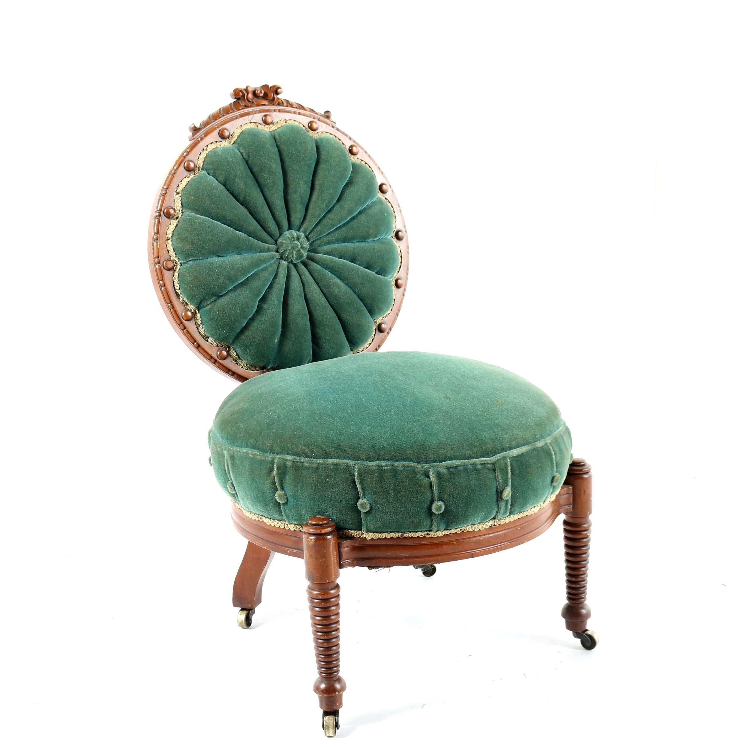 Antique Victorian Green Upholstered Accent Chair