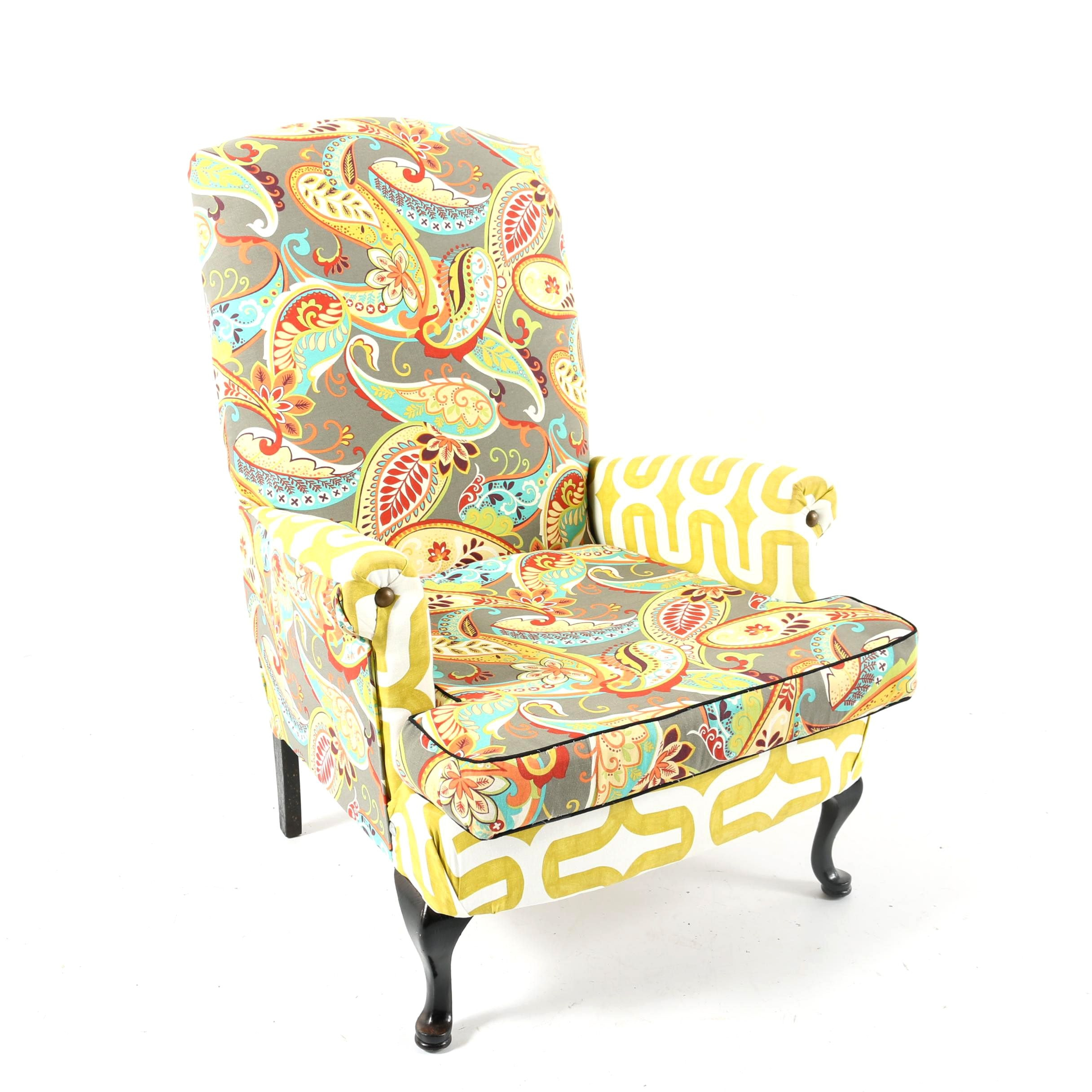 Queen Anne Style Paisley Upholstered Armchair