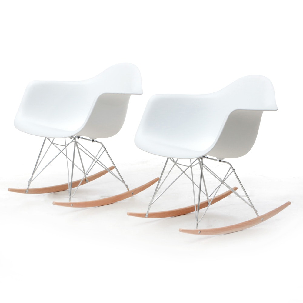 Ordinaire Pair Of Eames Style Rocking Chairs ...