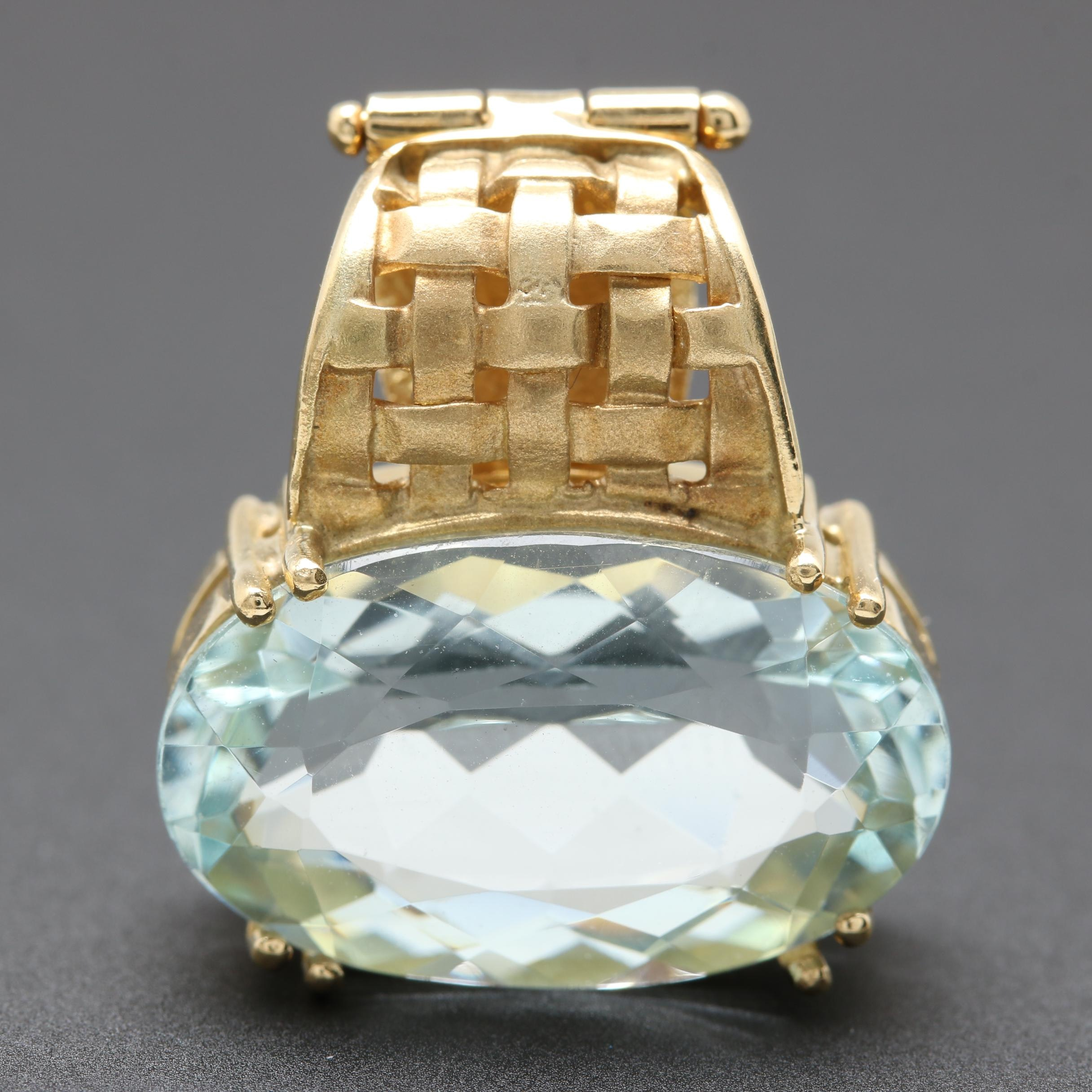 18K Yellow Gold 7.47 CT Aquamarine Enhancer Pendant
