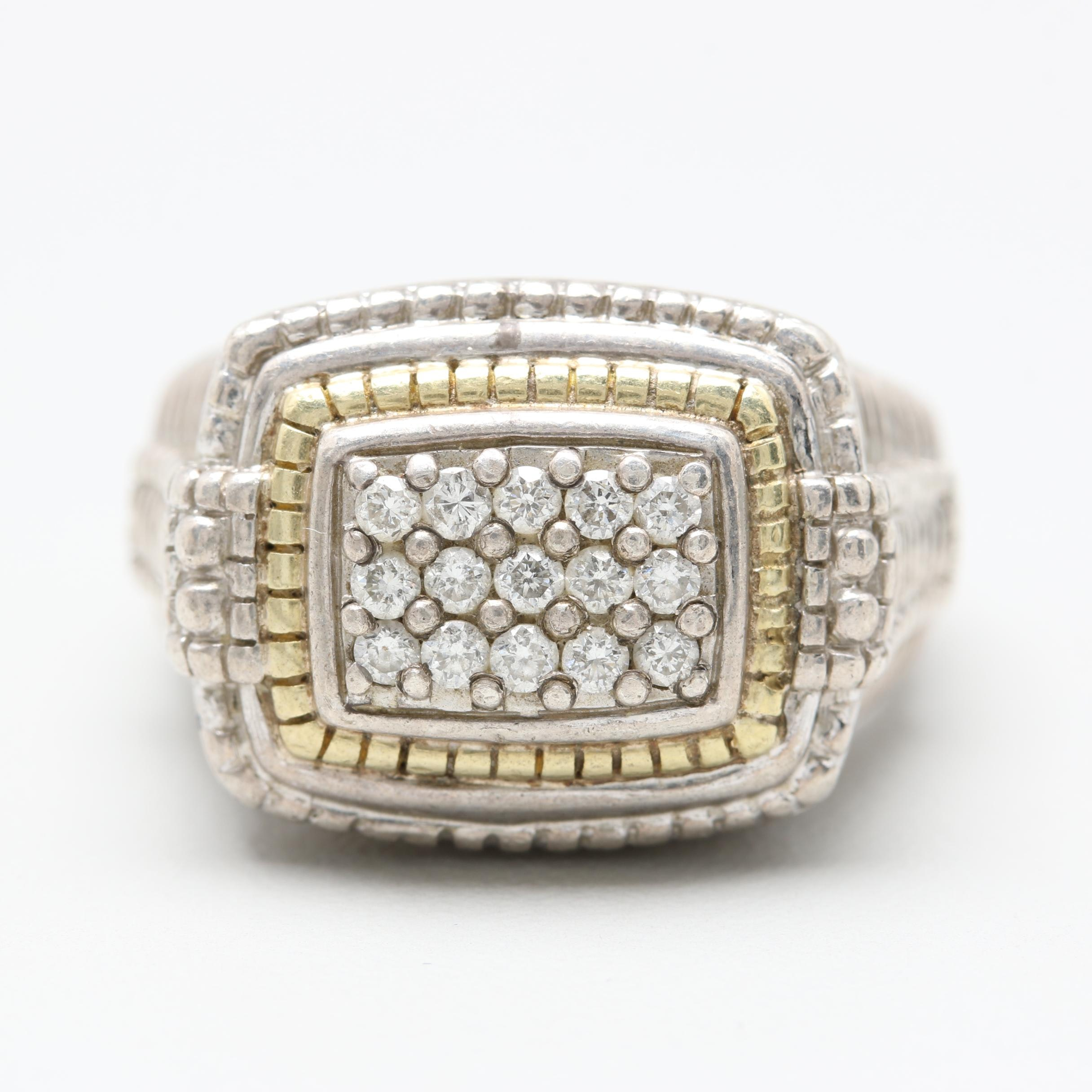 Judith Ripka Sterling Silver Diamond Ring with 18K Accents