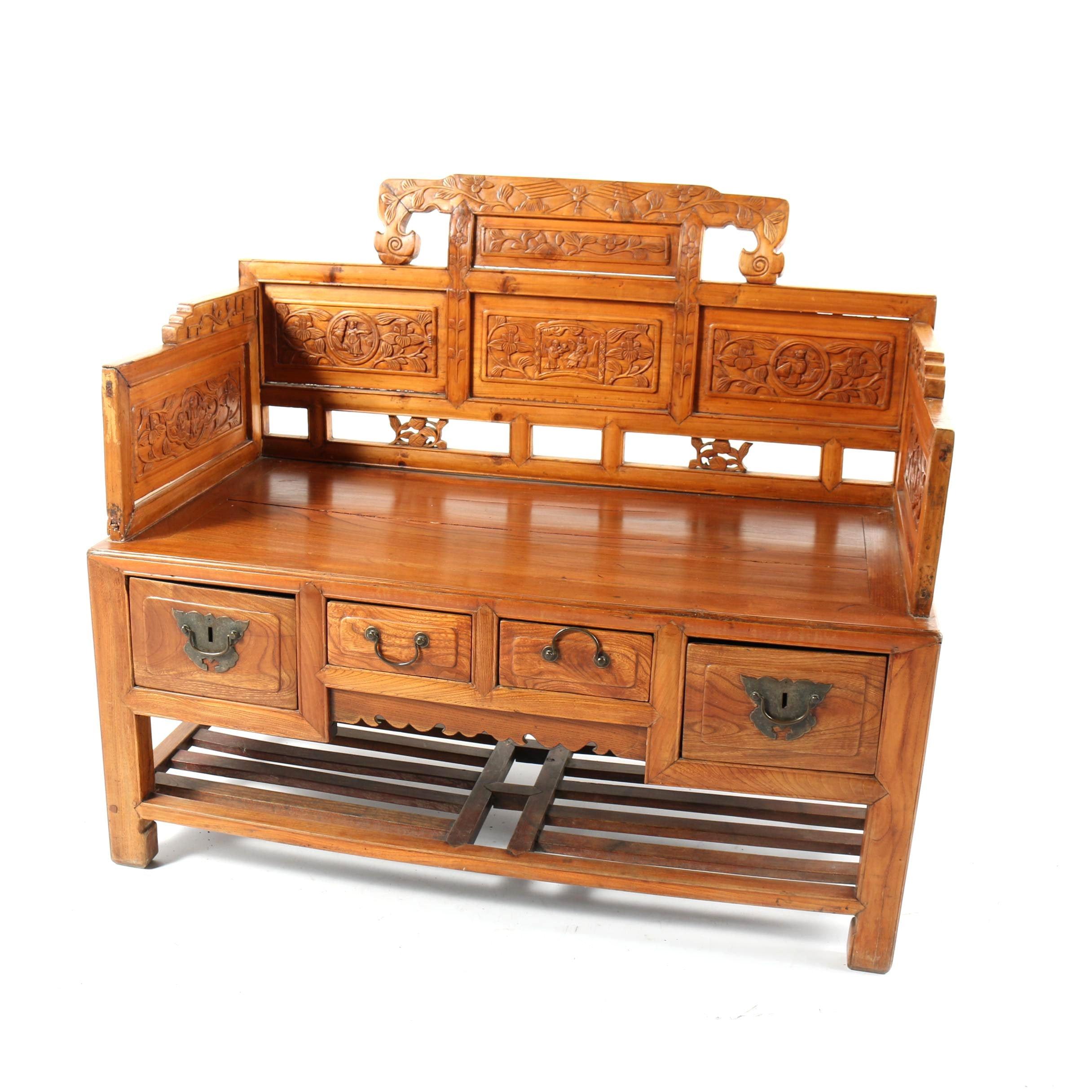 Vintage Korean Carved Wood Bench with Storage Drawers